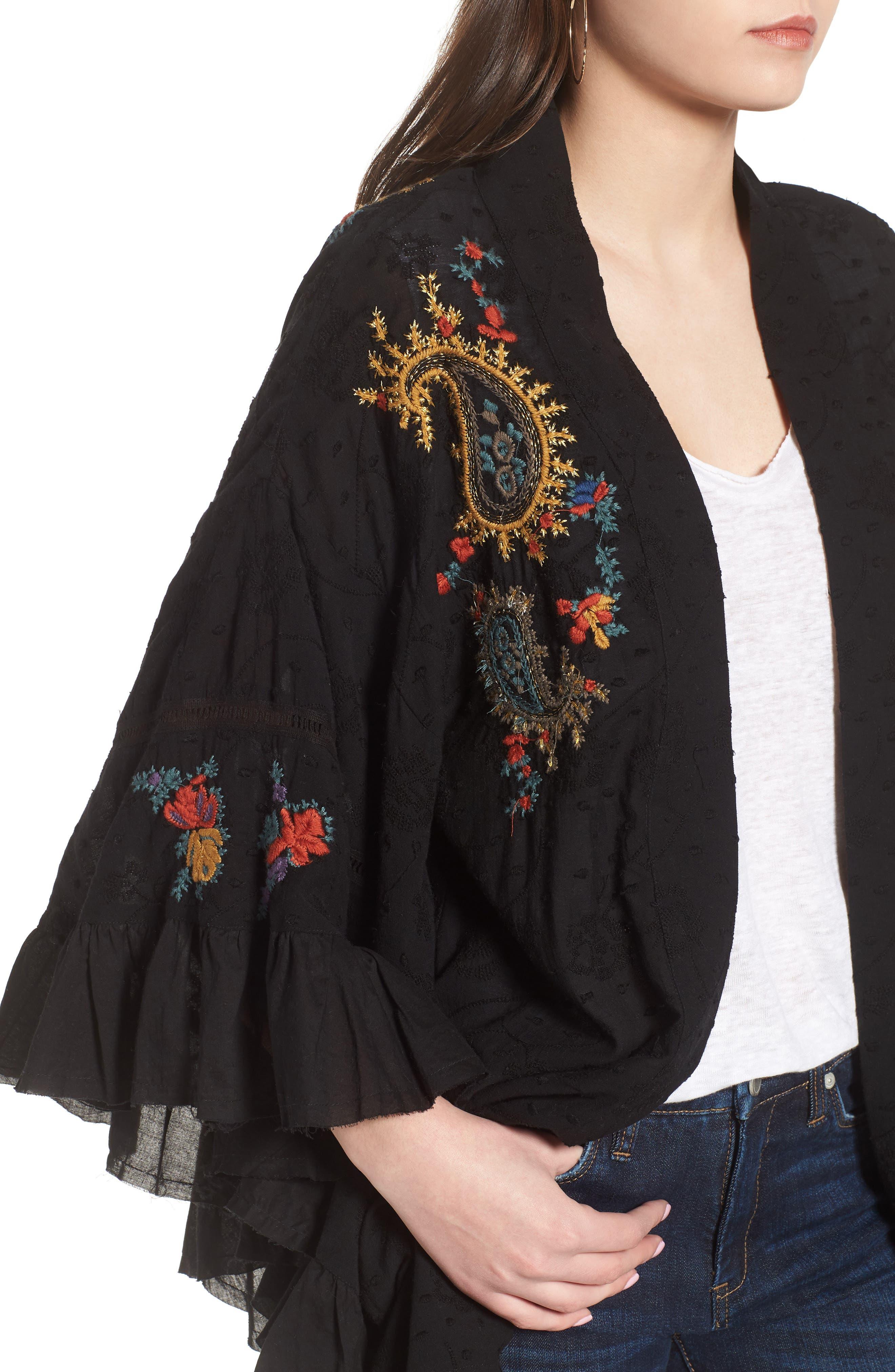 Dottie West Kimono,                             Alternate thumbnail 4, color,                             BLACK