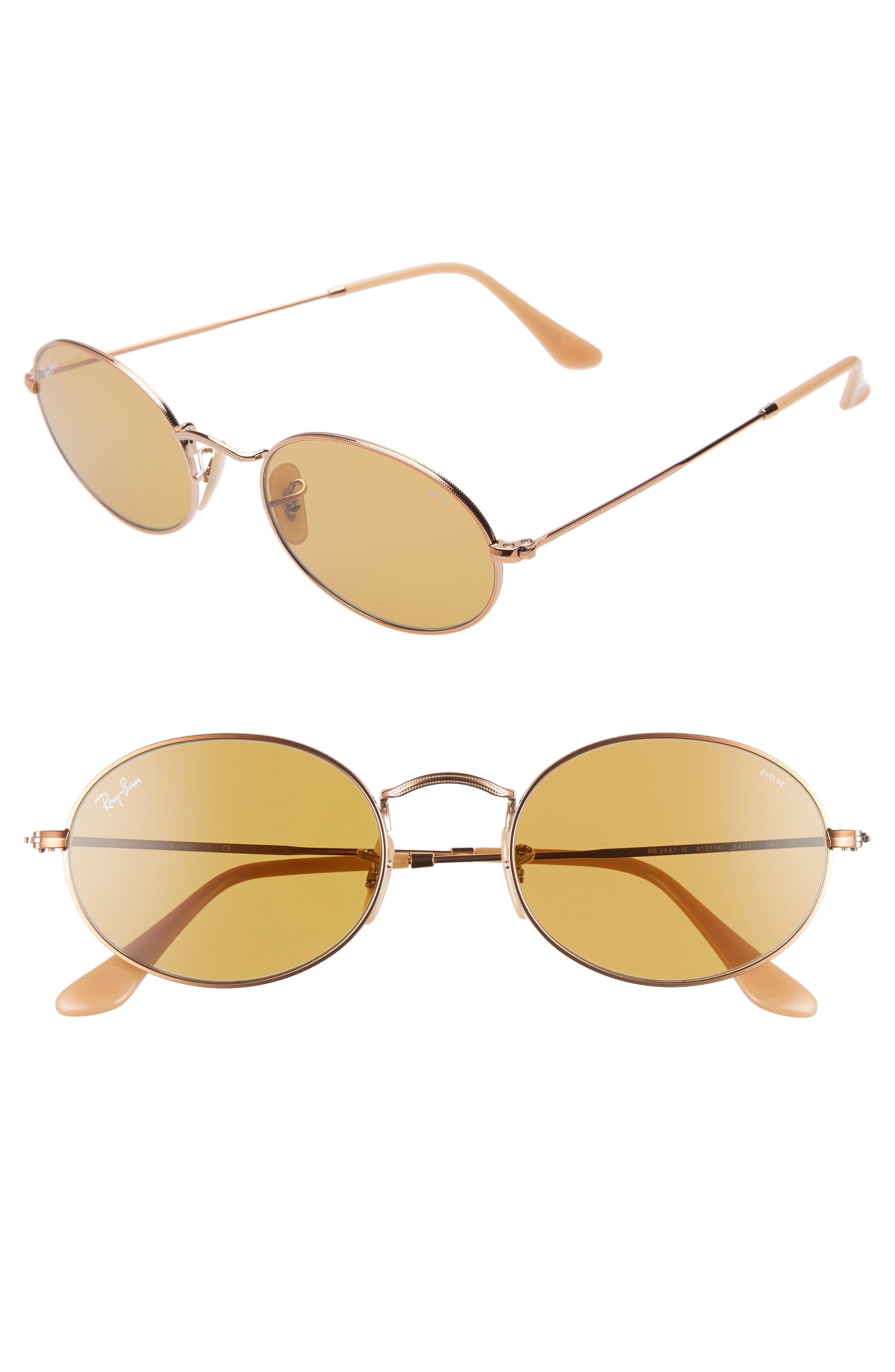 RAY-BAN,                             Evolve 54mm Polarized Oval Sunglasses,                             Main thumbnail 1, color,                             GOLD/ COPPER SOLID
