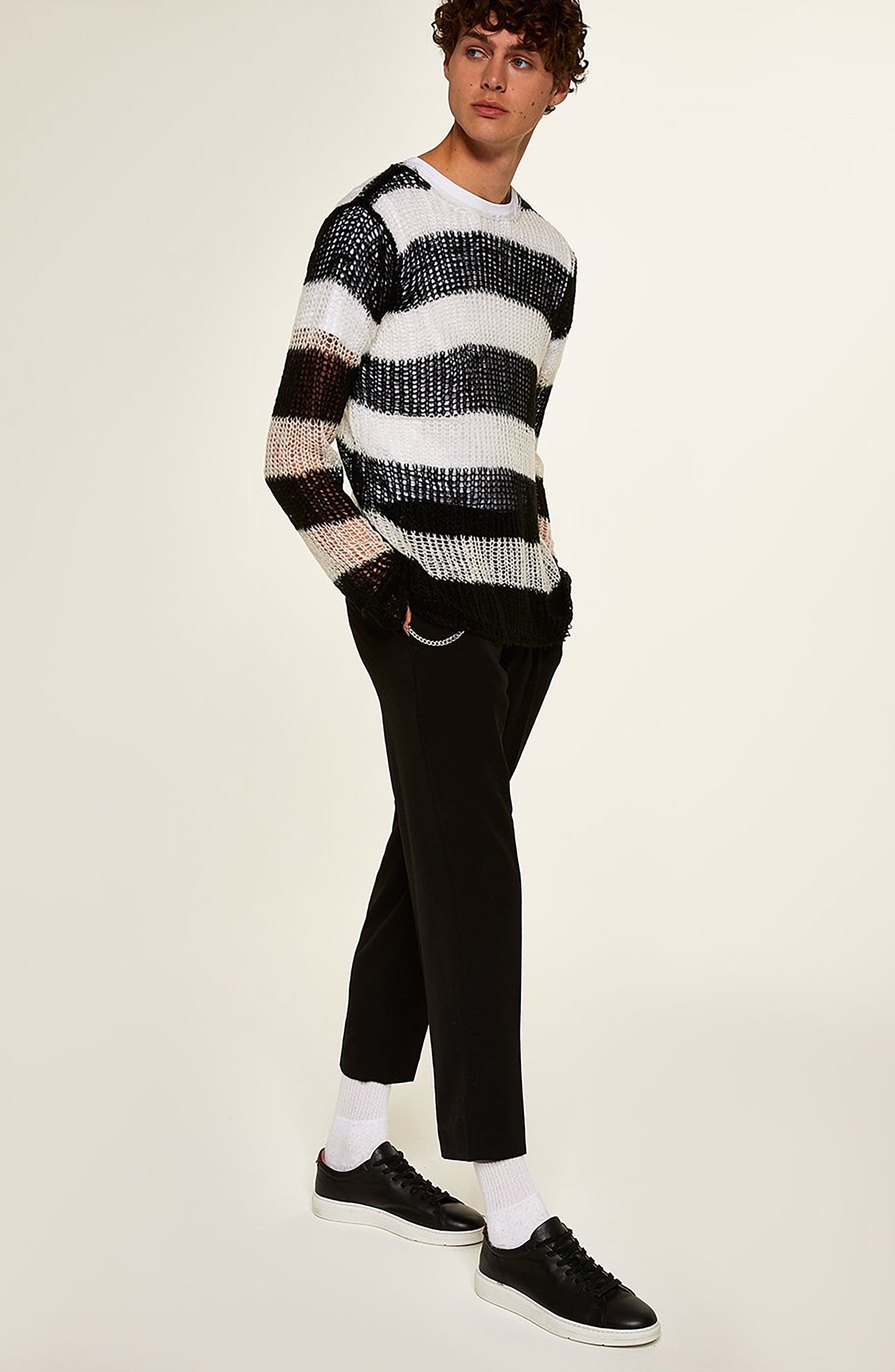 Stripe Classic Fit Sweater,                             Alternate thumbnail 5, color,                             001