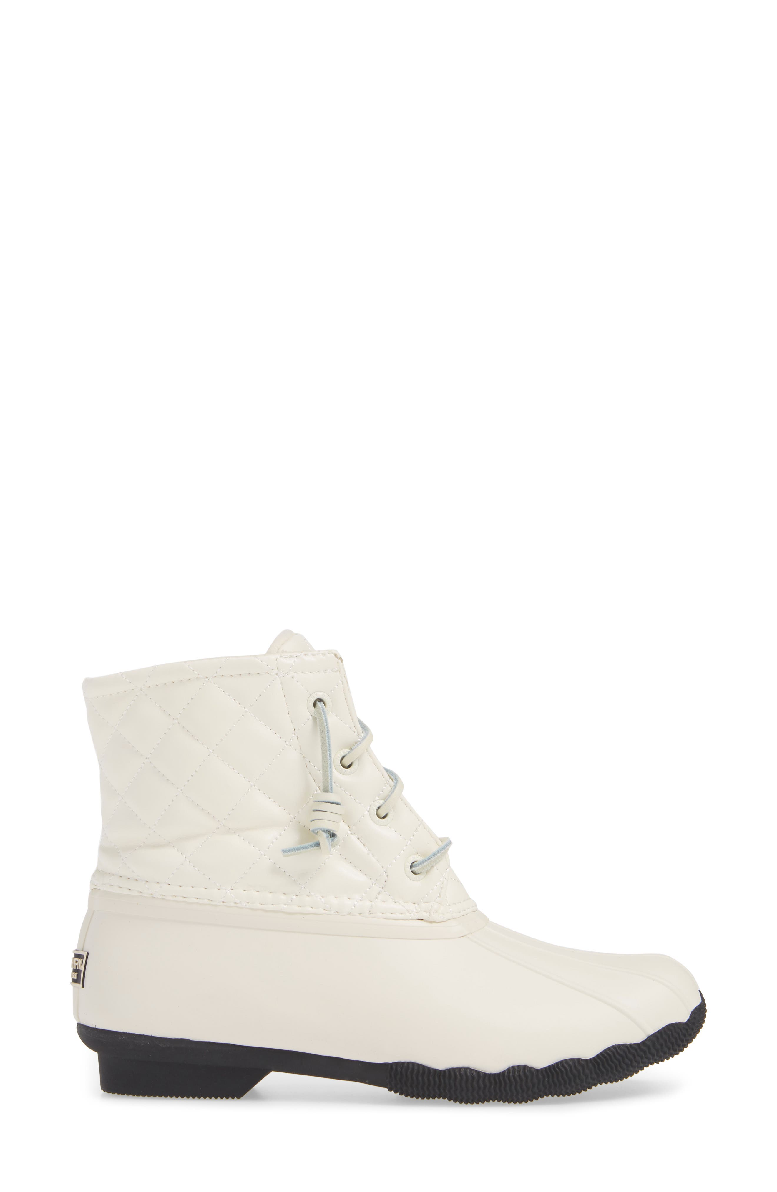 Quilted Luxe Saltwater Waterproof Bootie,                             Alternate thumbnail 3, color,                             IVORY