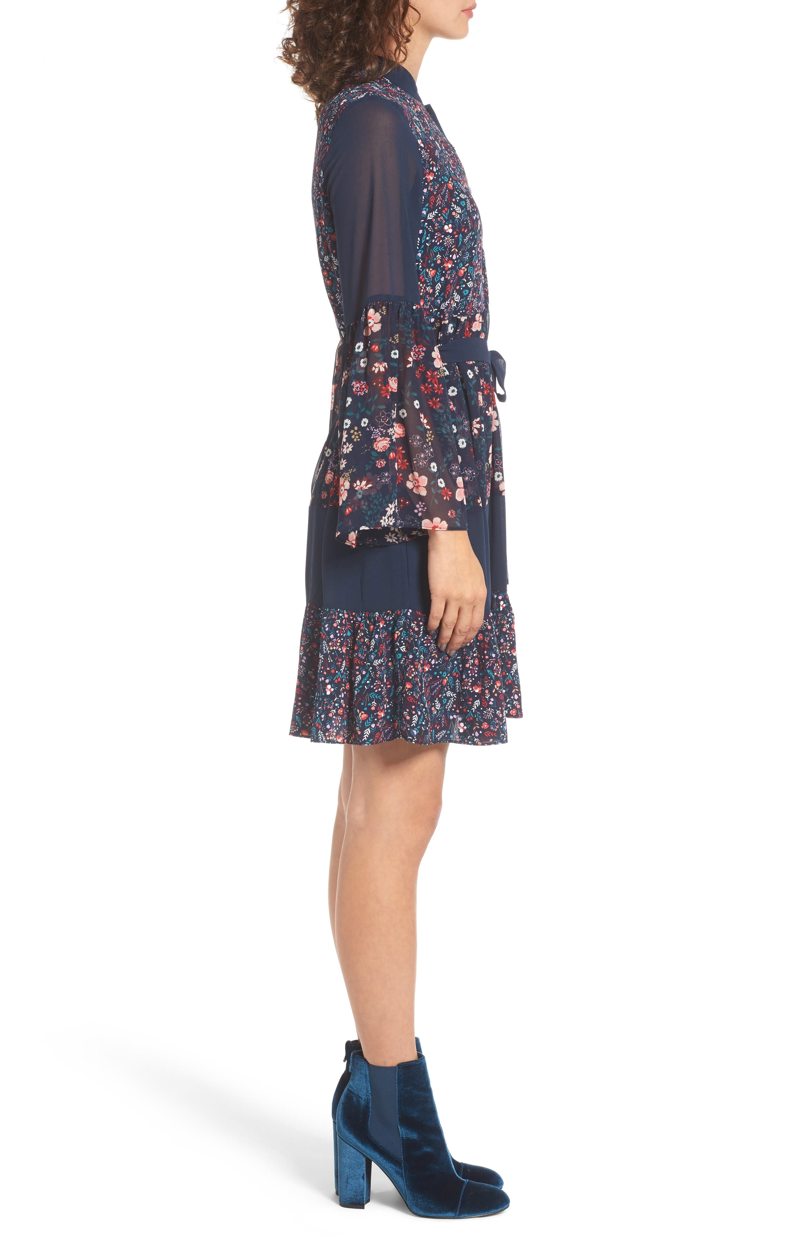 Caprice Floral Mix Shirtdress,                             Alternate thumbnail 3, color,                             497