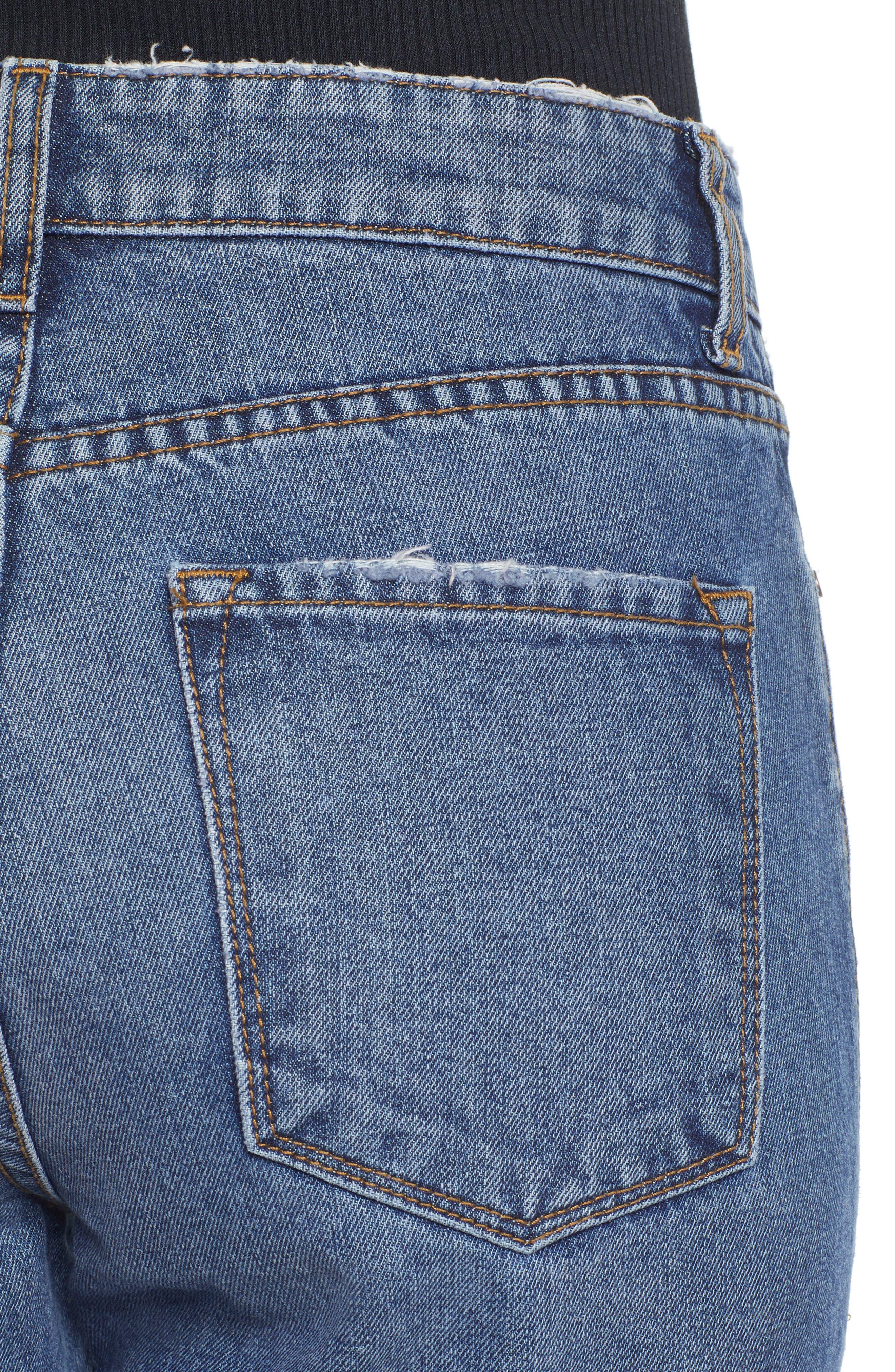 High Waist Straight Leg Crop Jeans,                             Alternate thumbnail 4, color,                             401
