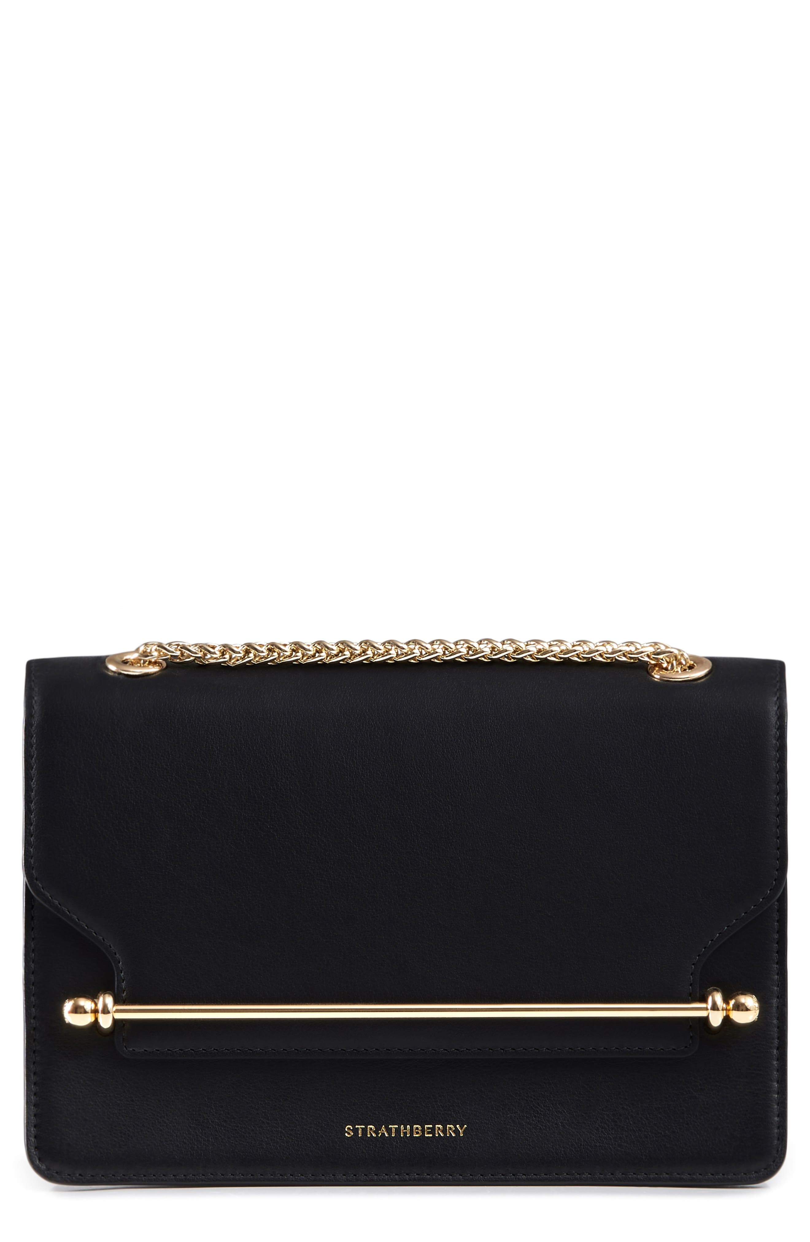 East/West Leather Crossbody Bag,                         Main,                         color, BLACK