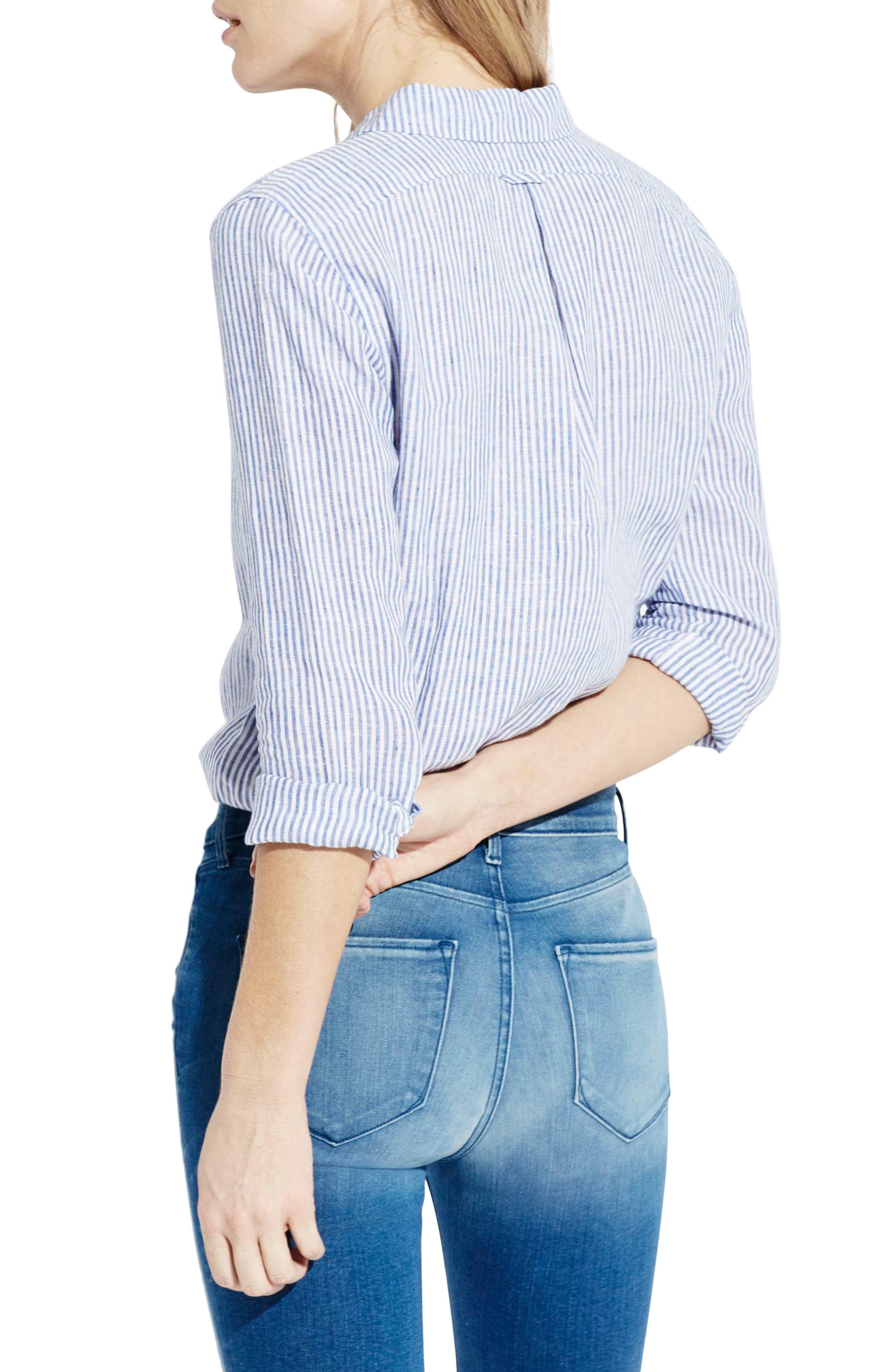 The Striped Easy Linen Shirt,                             Alternate thumbnail 3, color,                             414