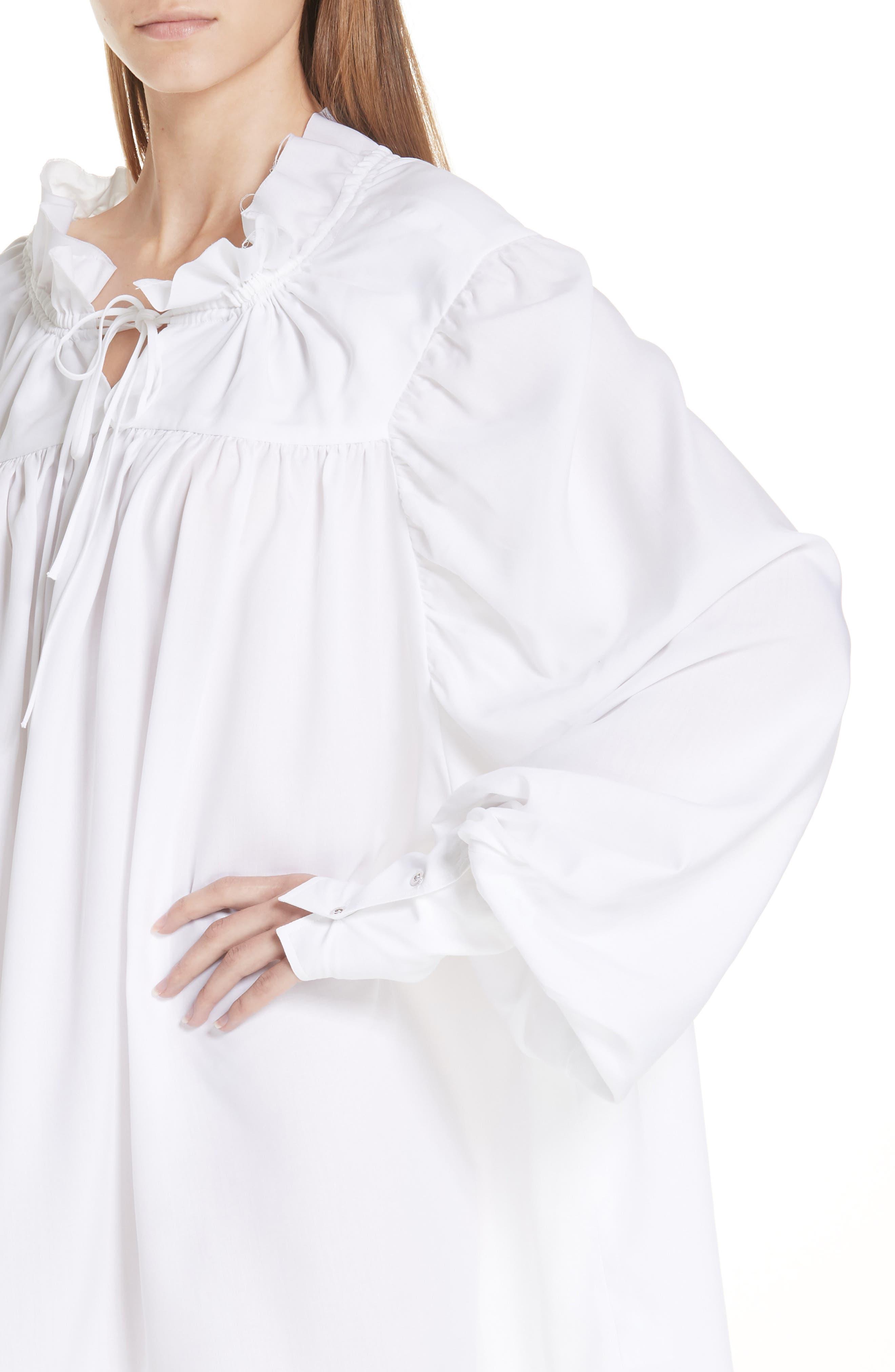 Marques'Almeida Gathered Yoke Shirt,                             Alternate thumbnail 4, color,                             WHITE