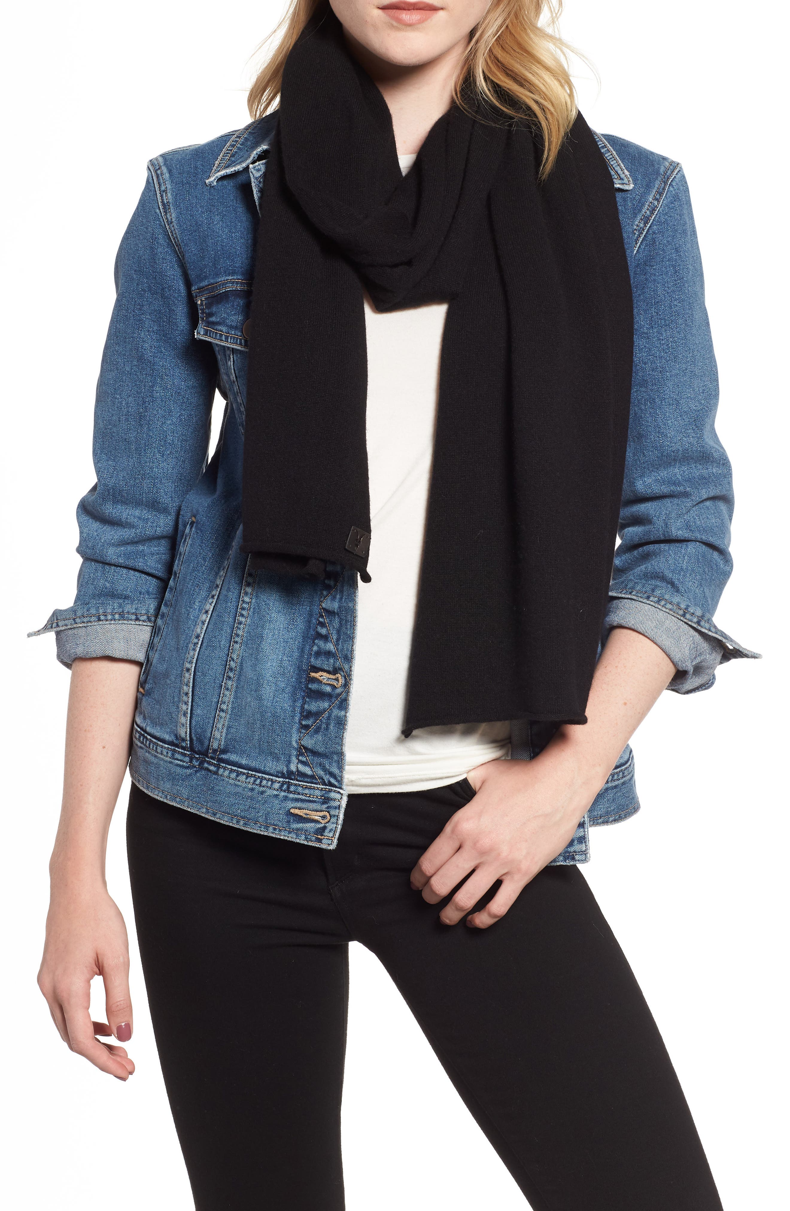 Rolled Ends Wool & Cashmere Scarf,                         Main,                         color, BLACK