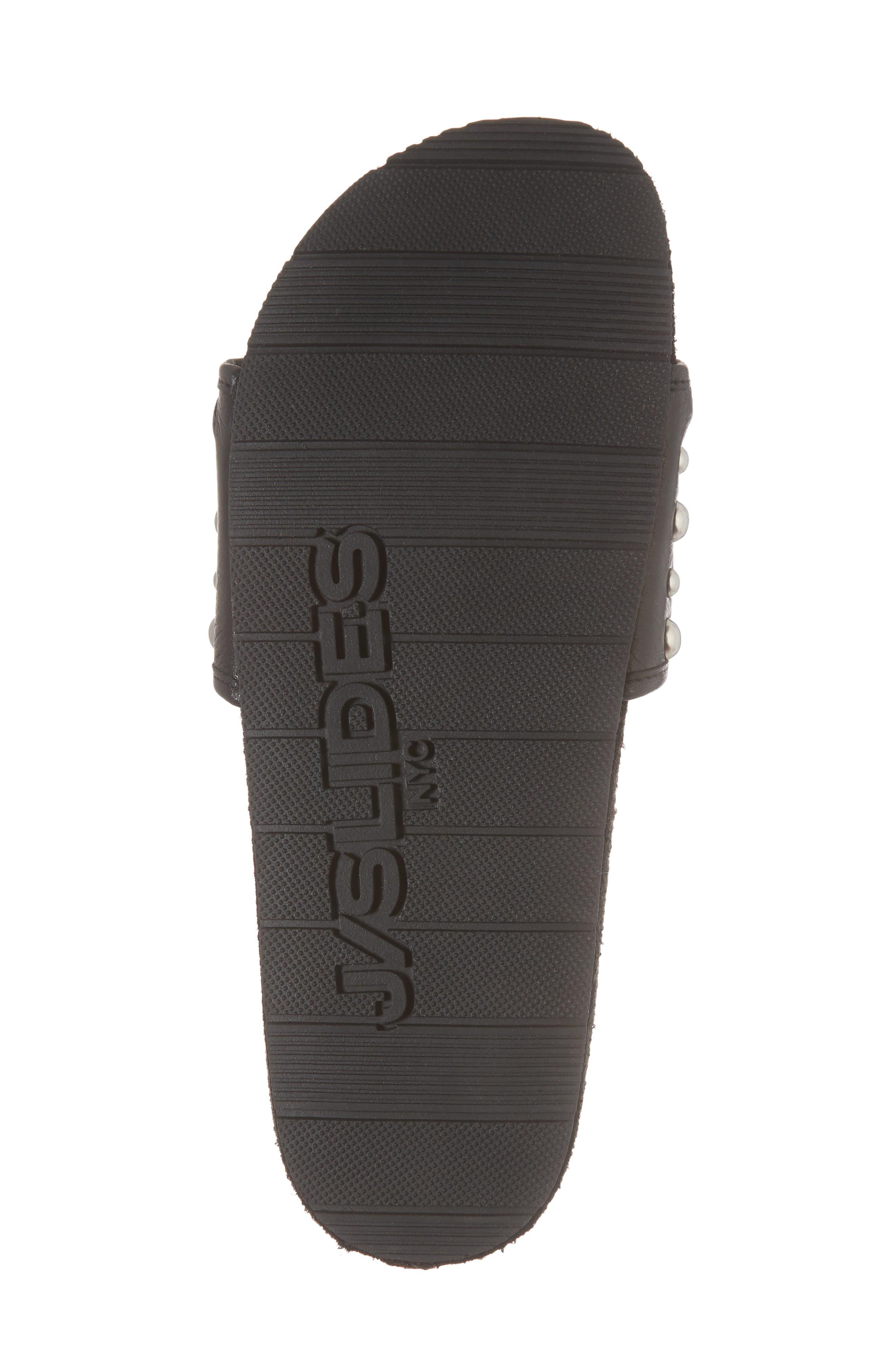 Nora Studded Slide Sandal,                             Alternate thumbnail 6, color,                             BLACK SUEDE