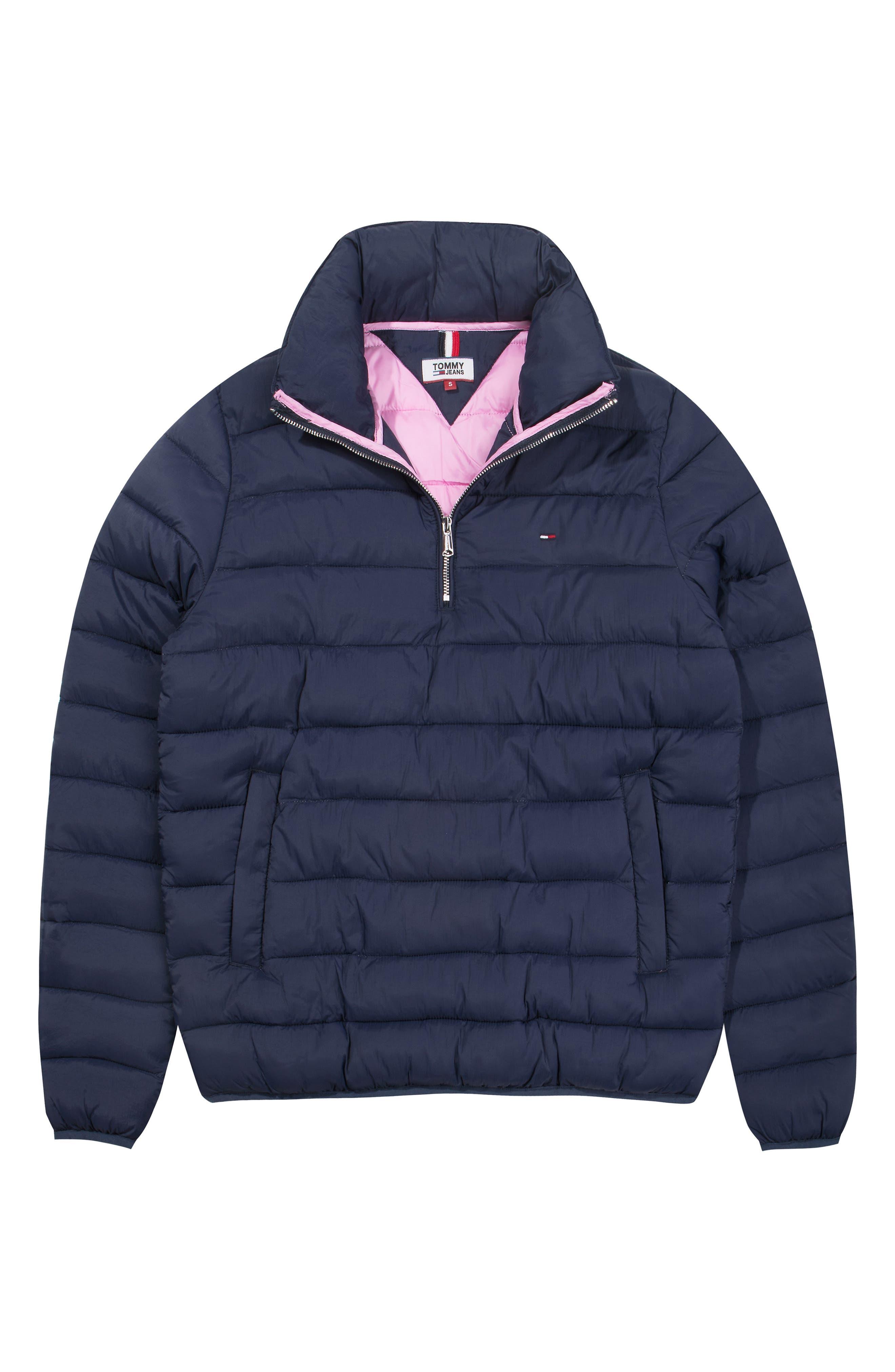 TJW Quilted Half-Zip Puffer Jacket,                             Alternate thumbnail 4, color,                             BLACK IRIS