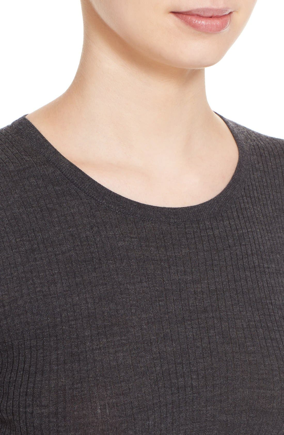 'Mirzi' Rib Knit Merino Wool Sweater,                             Alternate thumbnail 4, color,                             CHARCOAL MELANGE