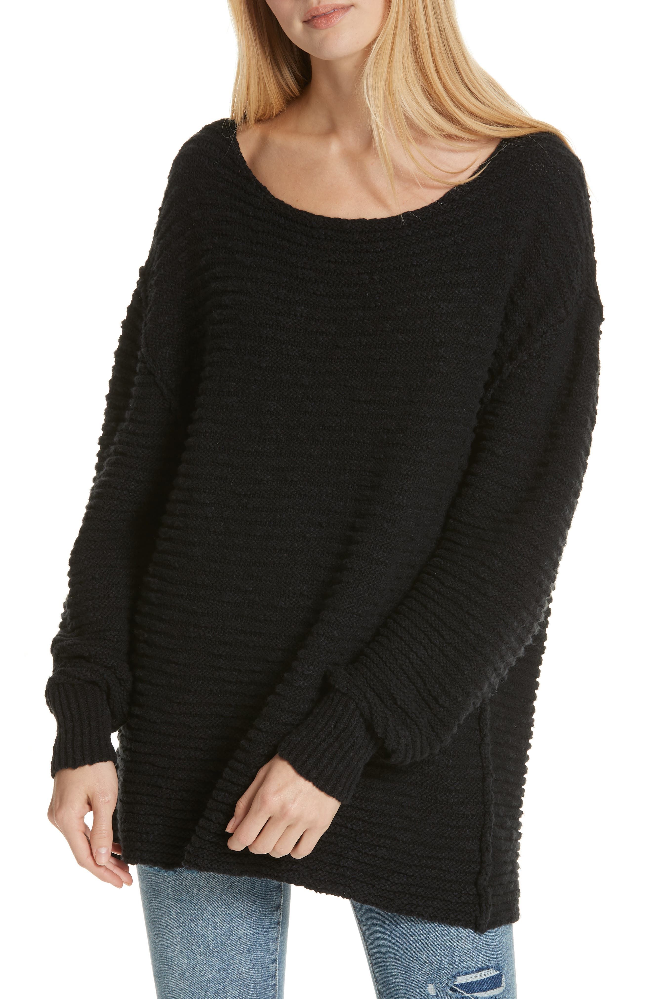 Menace Solid Tunic Sweater,                             Main thumbnail 1, color,                             001