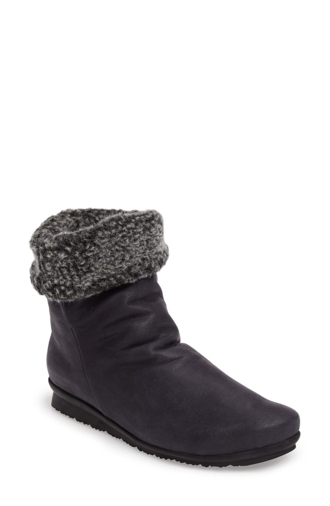 Barosa Faux Shearling Cuffed Bootie,                             Main thumbnail 1, color,