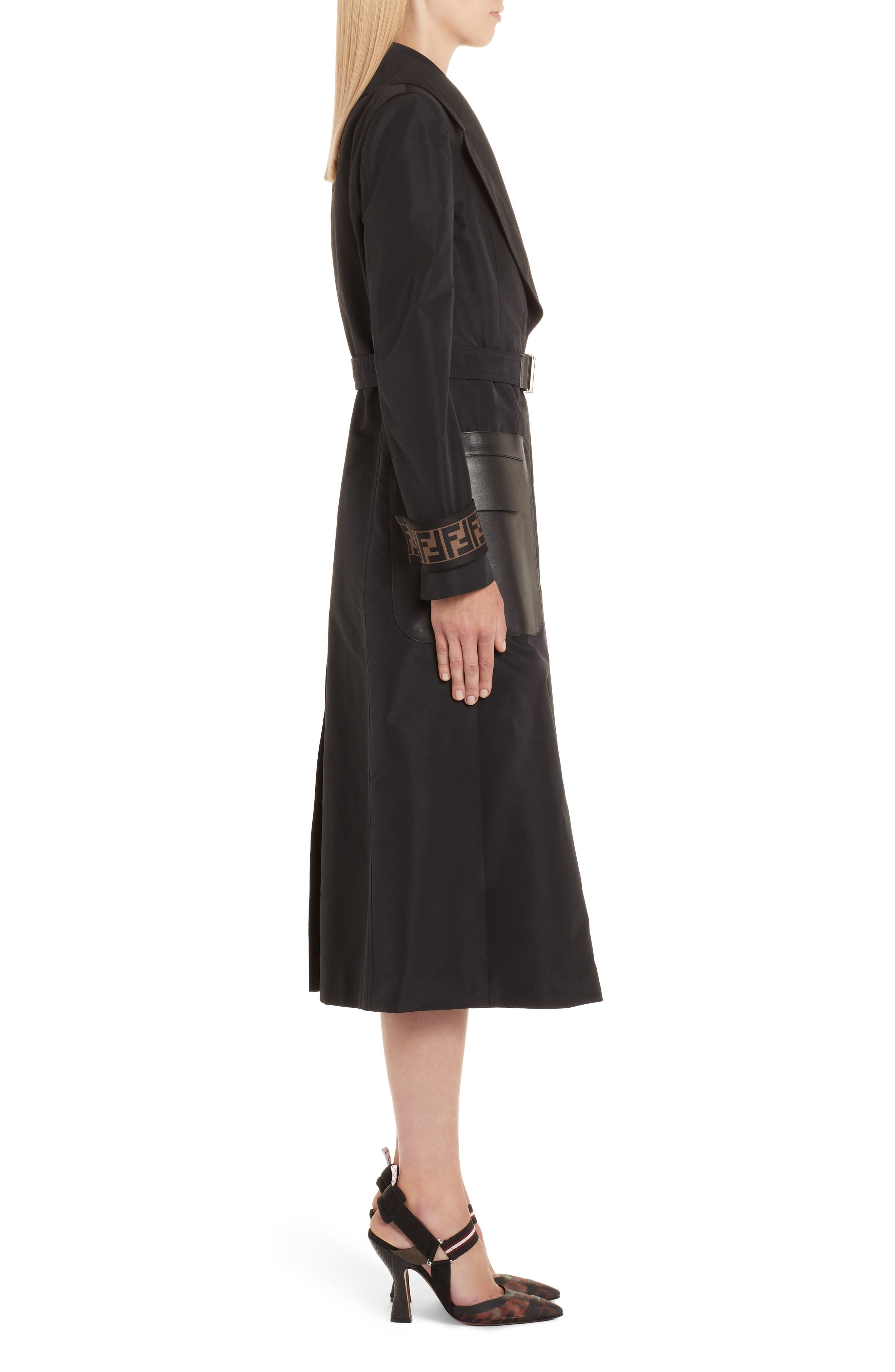 Leather Pocket Trench Coat,                             Alternate thumbnail 3, color,                             BLACK