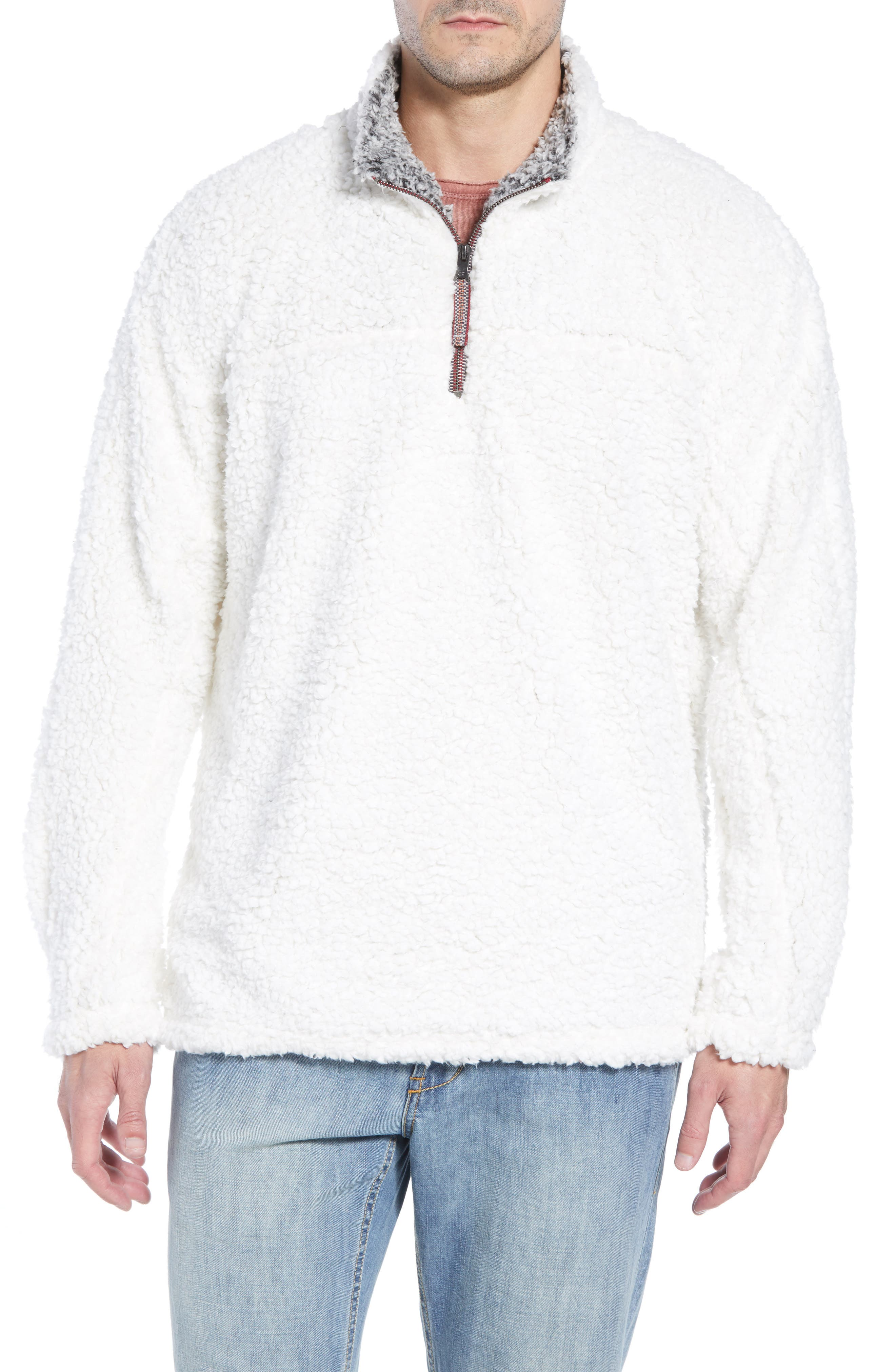 Frosty Tipped Quarter Zip Pullover,                             Main thumbnail 1, color,                             IVORY