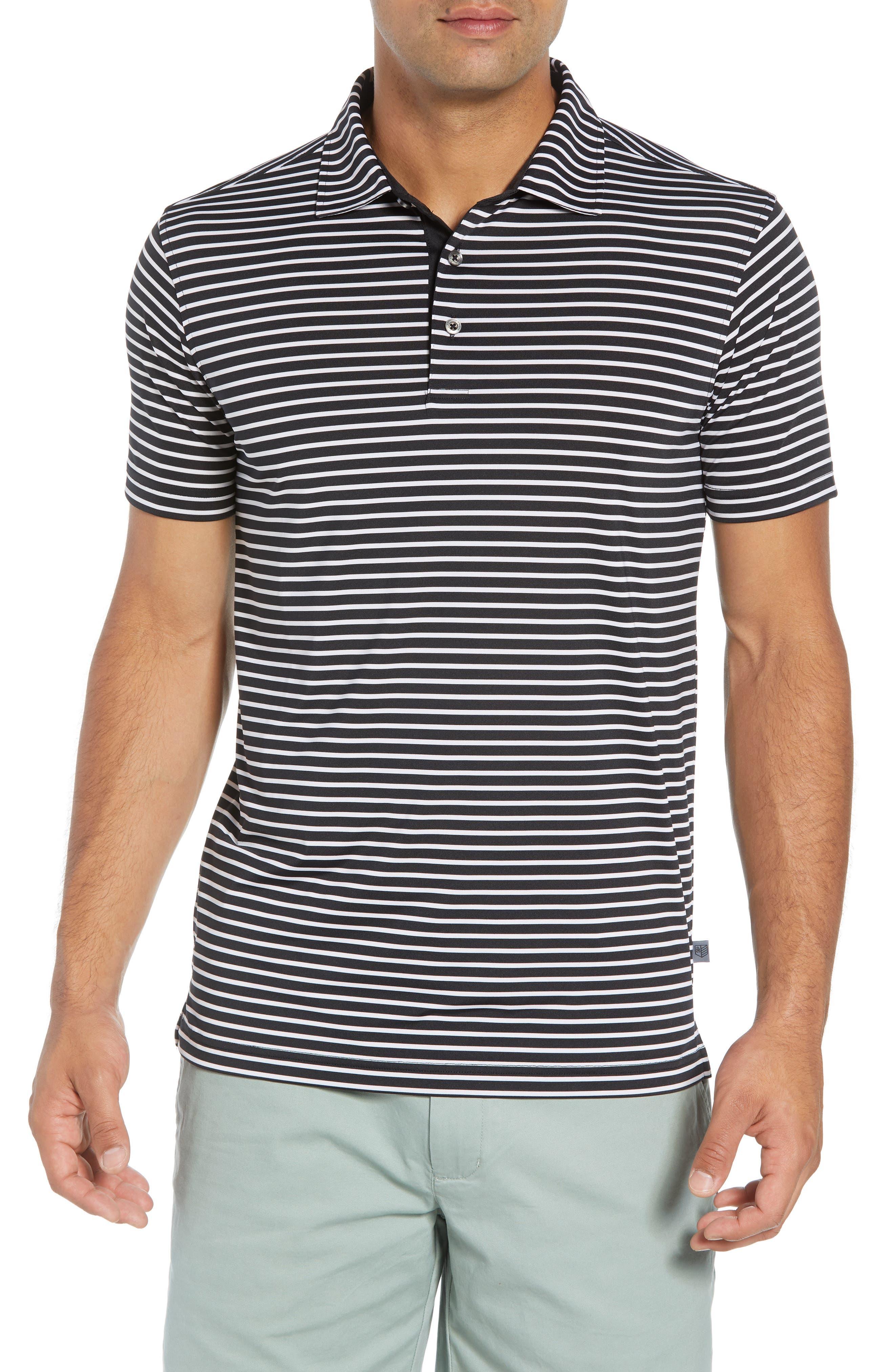 Control Stripe Jersey Polo,                             Main thumbnail 1, color,                             BLACK