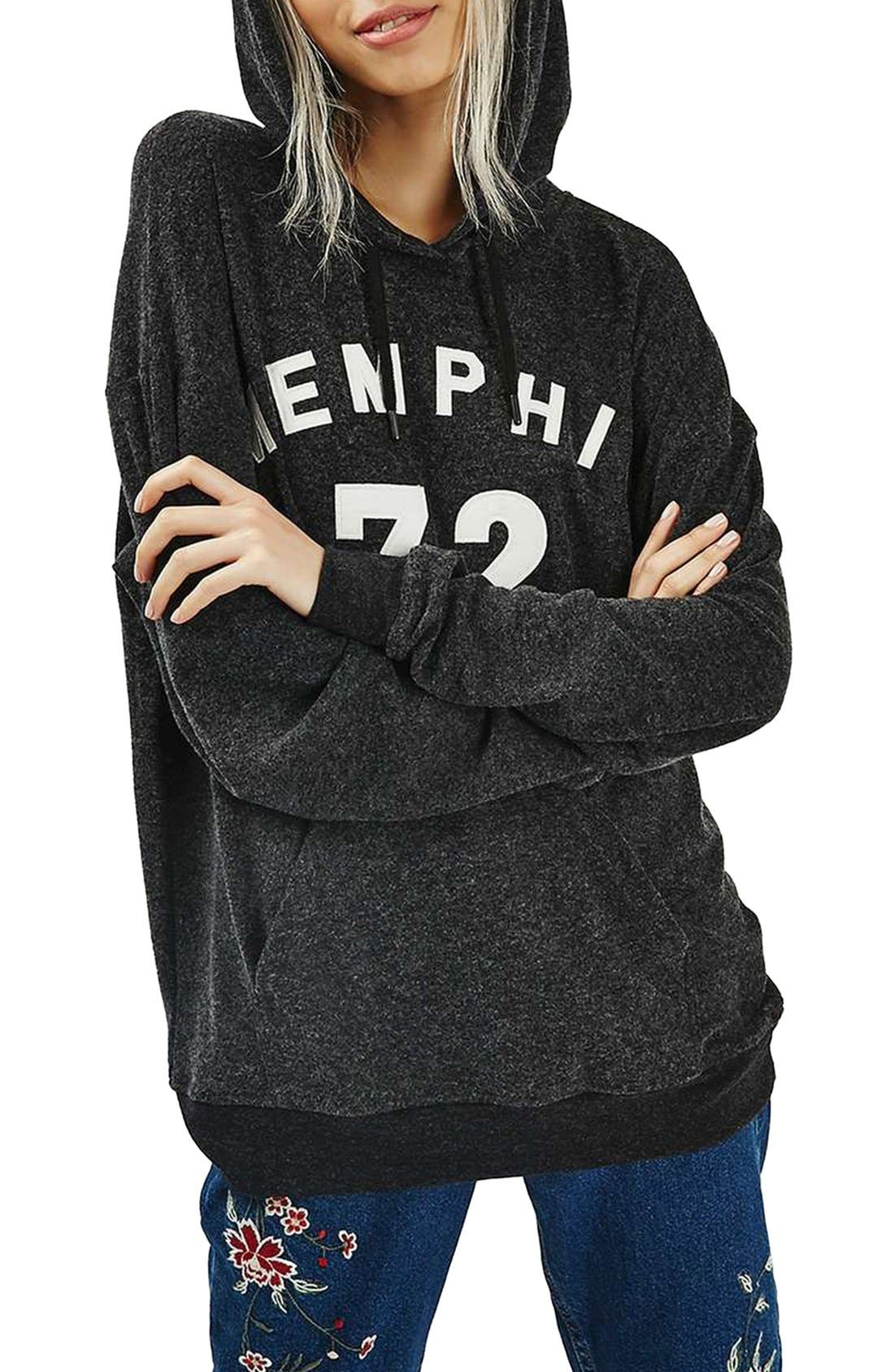 TOPSHOP Memphis Brushed Hoodie, Main, color, 021