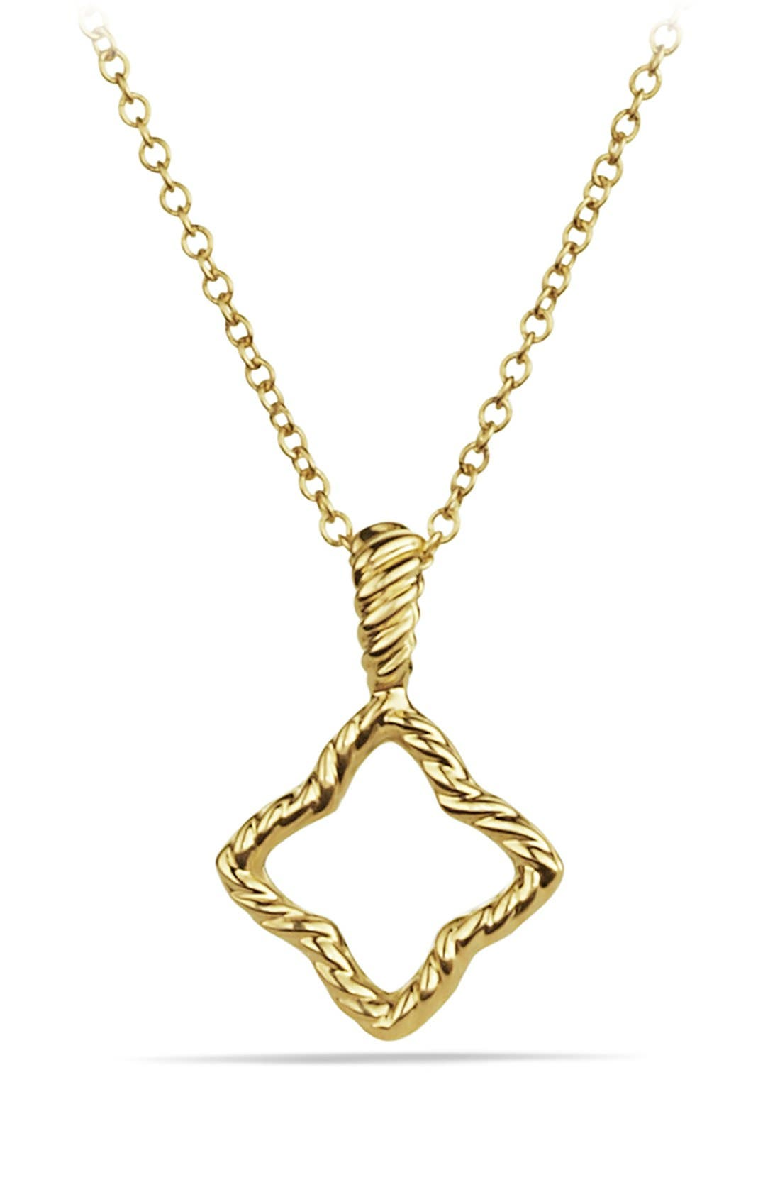 'Cable Collectibles' Quatrefoil Pendant with Diamonds in Gold on Chain,                             Alternate thumbnail 4, color,                             DIAMOND