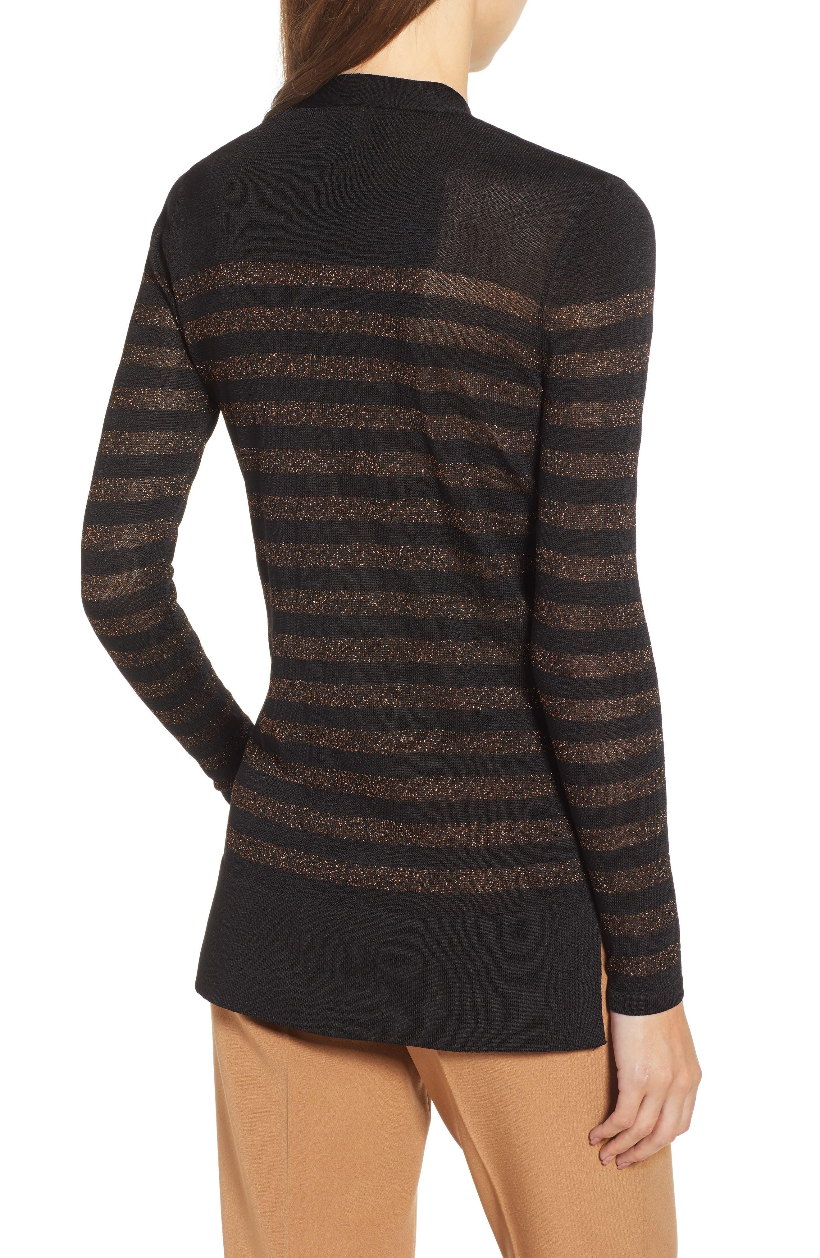 Metallic Stripe Bow Front Sweater,                             Alternate thumbnail 2, color,                             ANNE BLACK/ COPPER