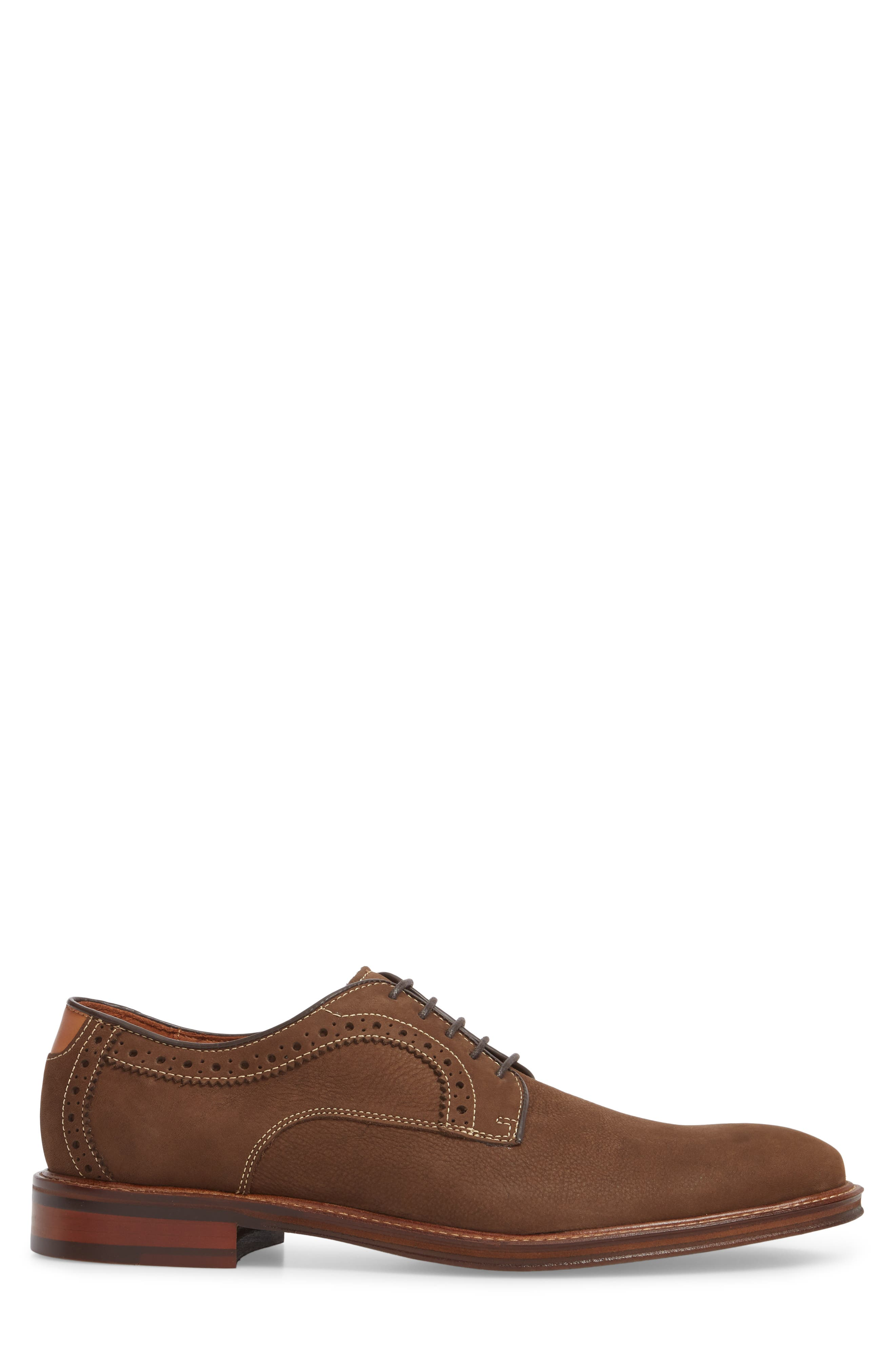Warner Plain Toe Derby,                             Alternate thumbnail 3, color,                             BROWN NUBUCK