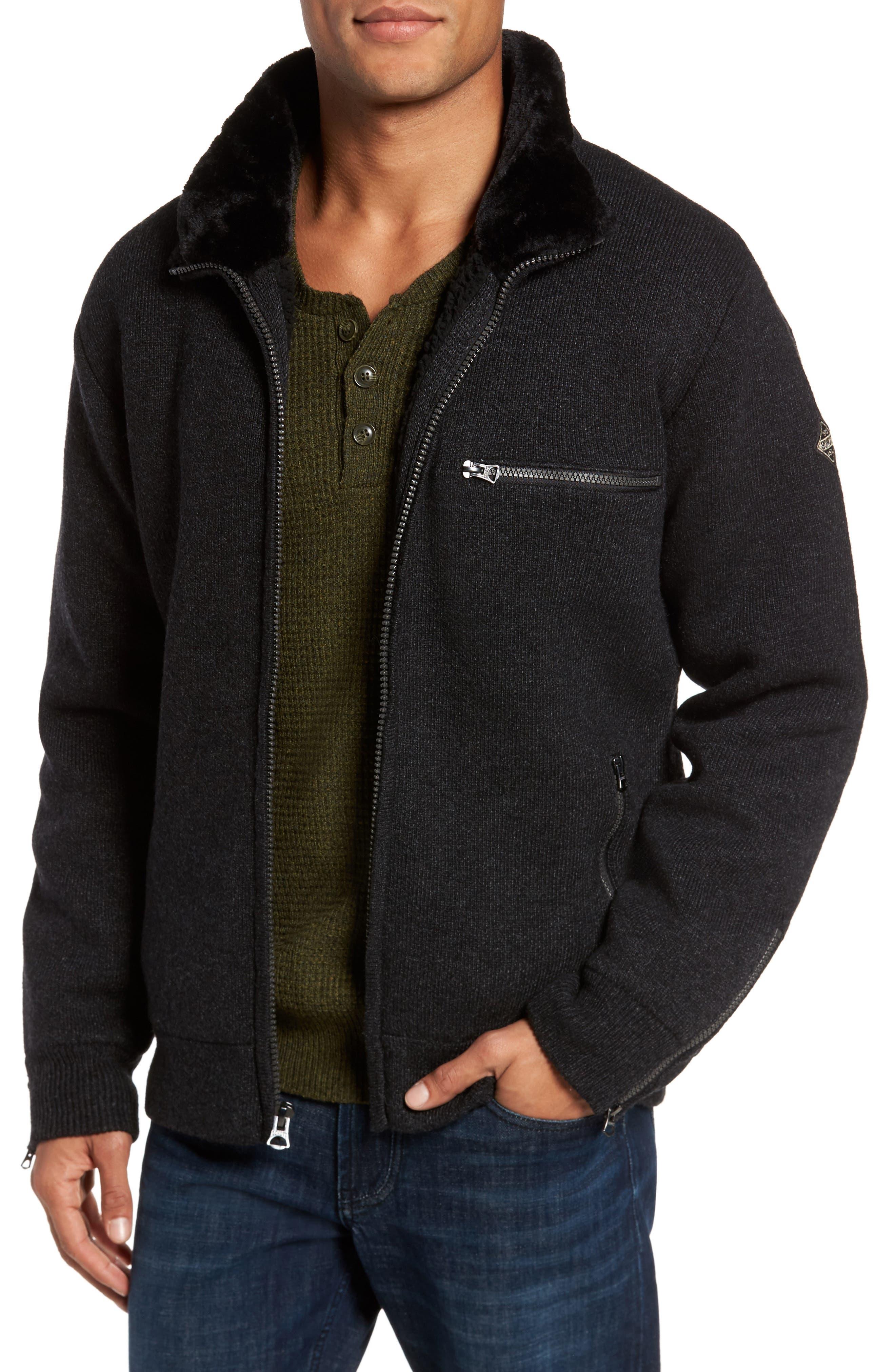 Caf Faux Fur Lined Sweater Jacket,                         Main,                         color, BLACK