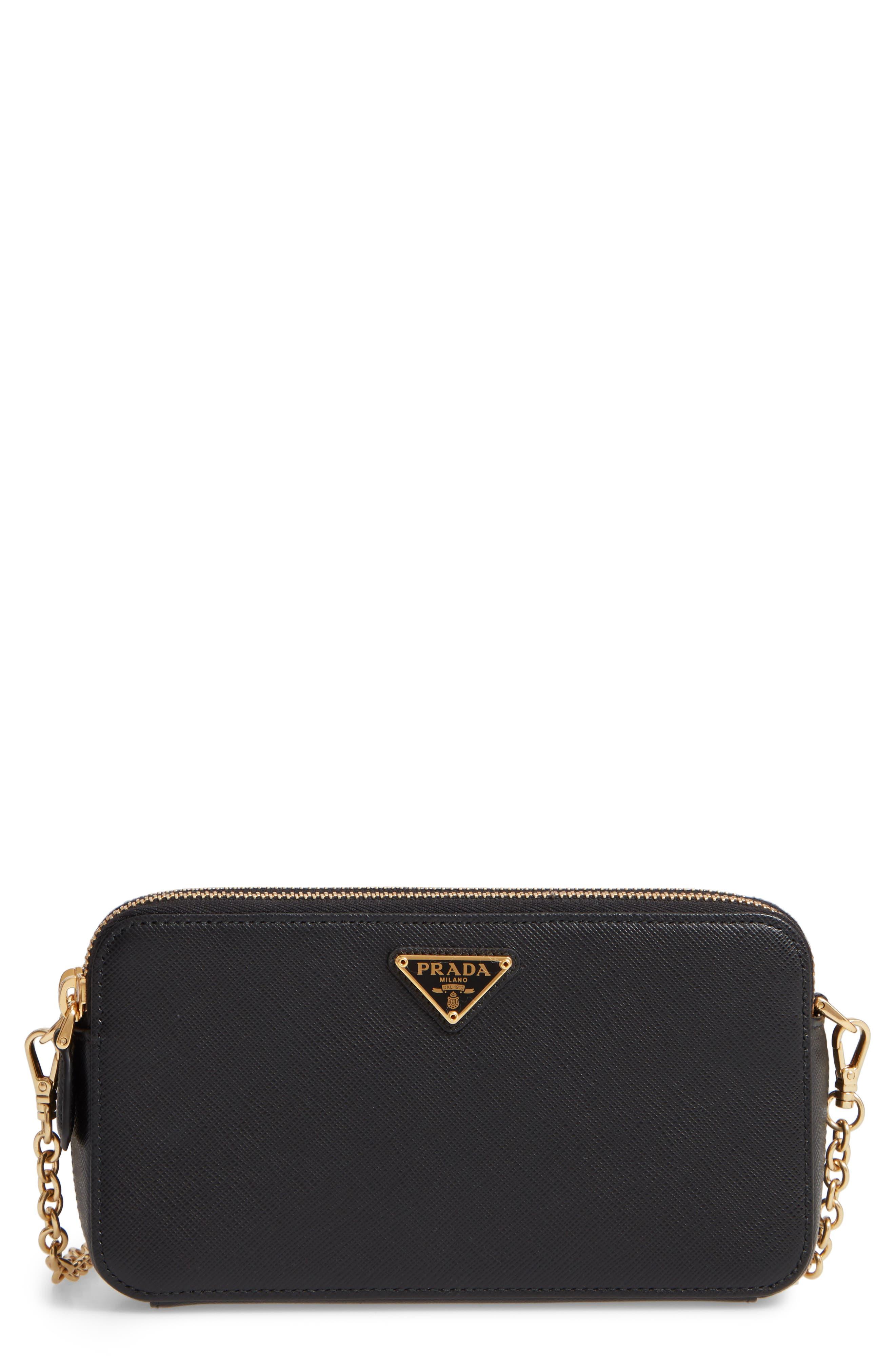 Small Double Compartment Zip Saffiano Leather Crossbody Bag,                         Main,                         color, NERO