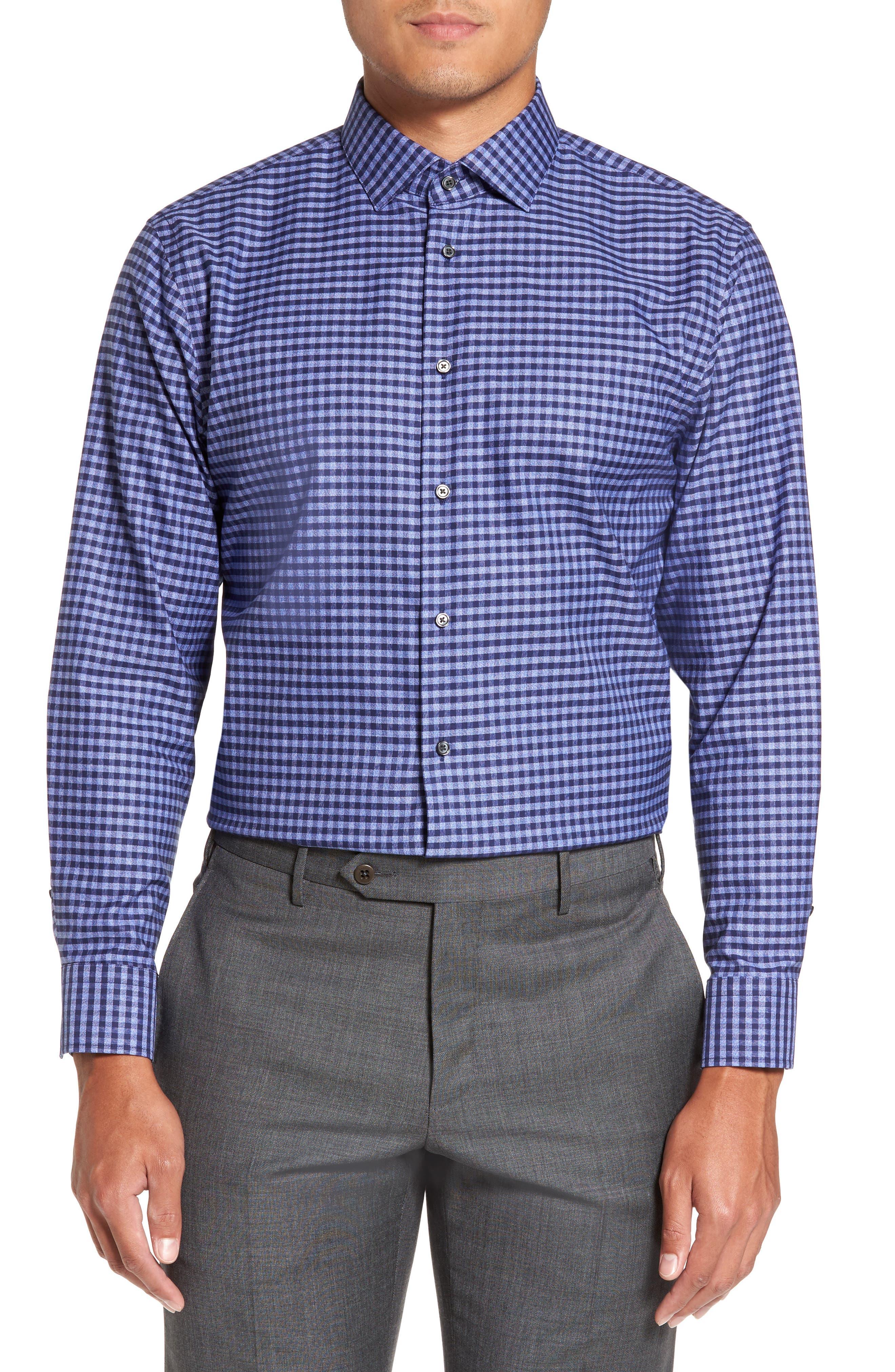 Trim Fit Non-Iron Check Dress Shirt,                         Main,                         color, 420