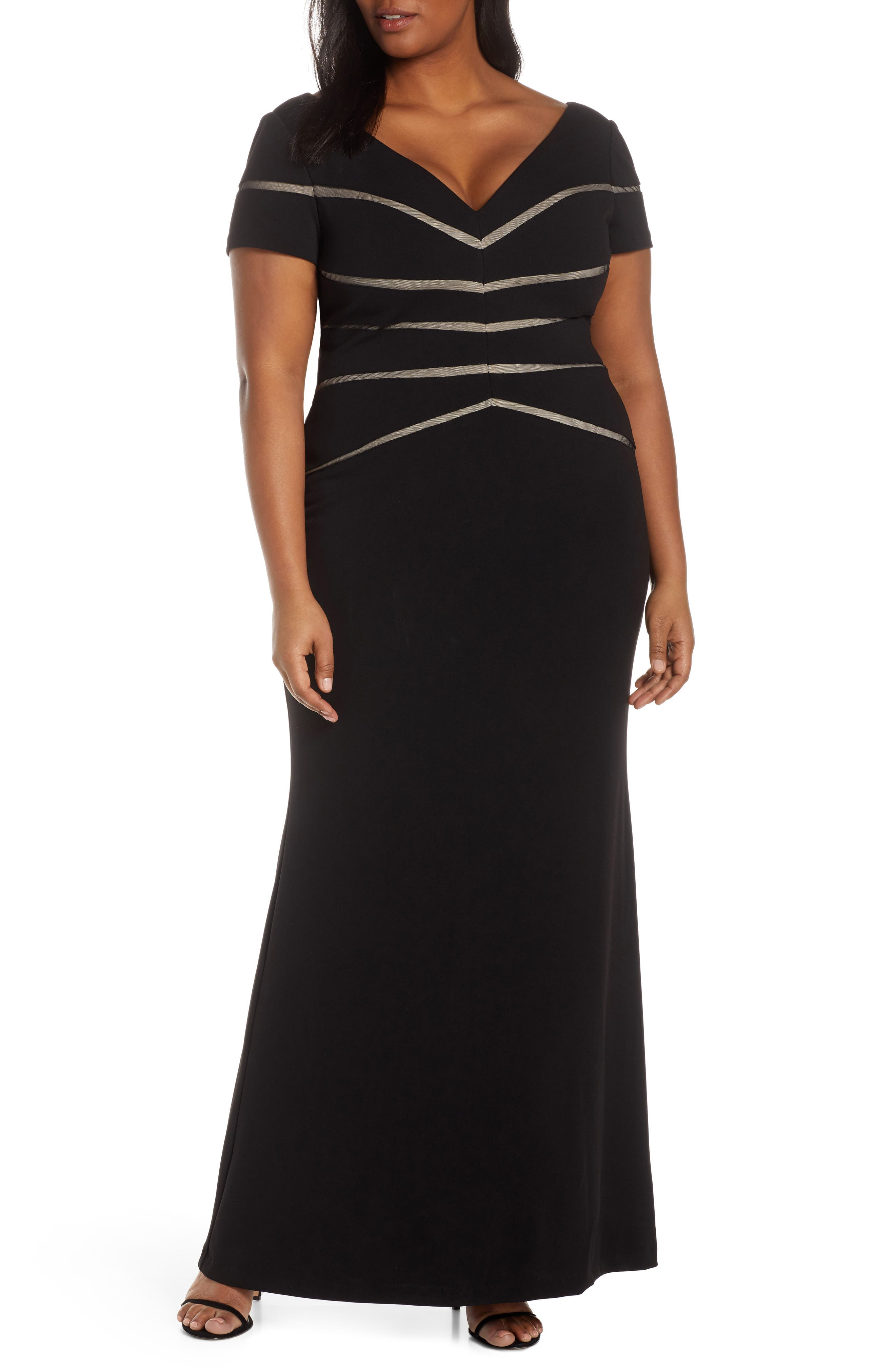 Plus Size Adrianna Papell Mesh Inset Crepe Trumpet Gown, Black