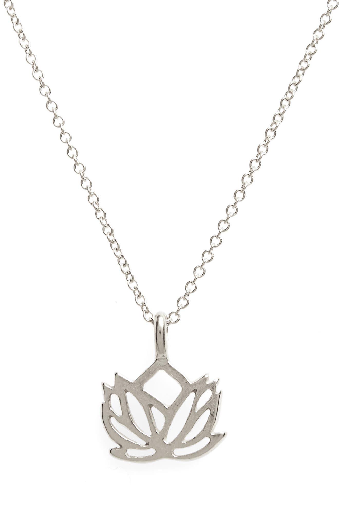 Lotus Reminder Pendant Necklace,                             Alternate thumbnail 4, color,                             042