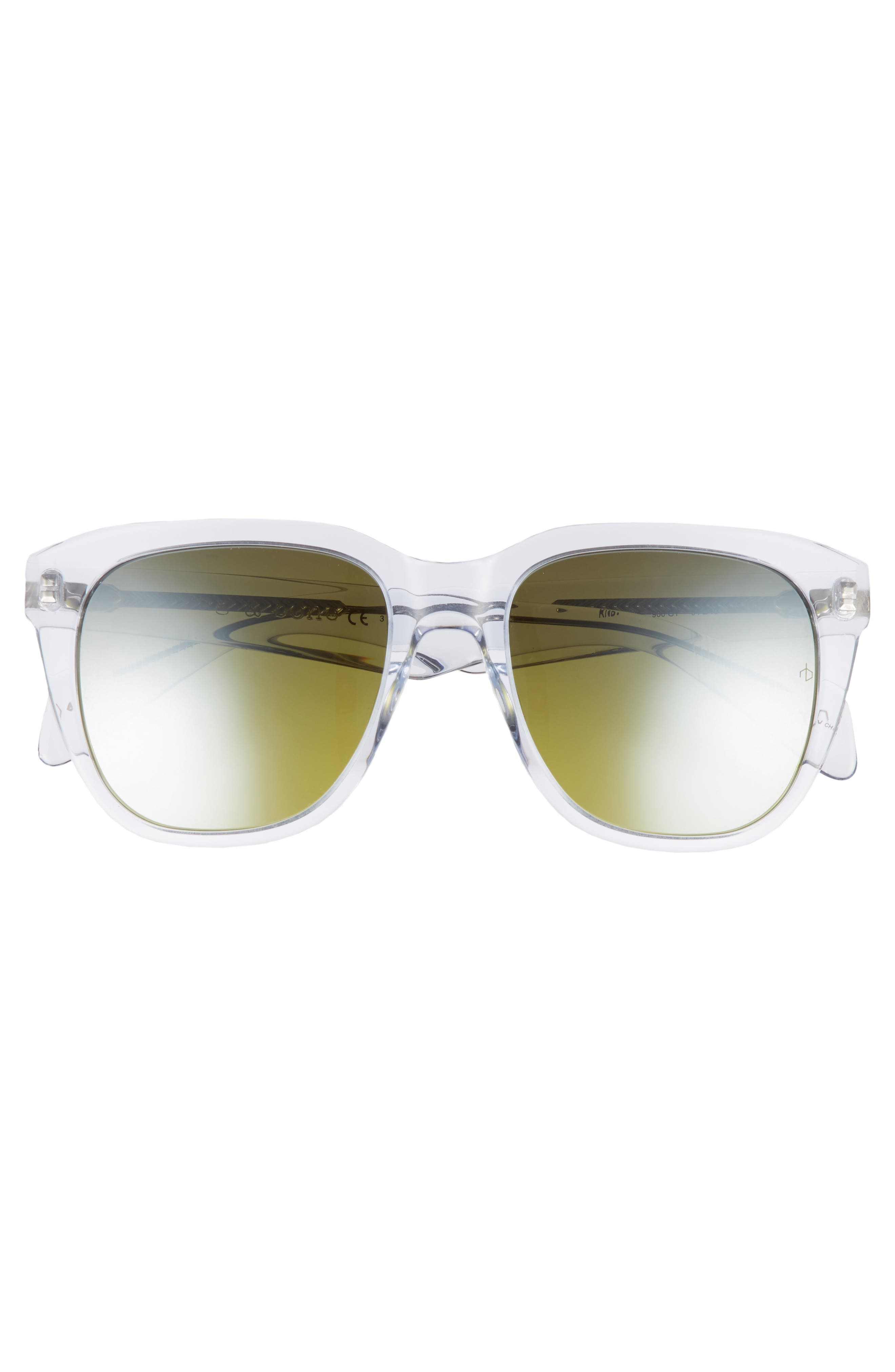 54mm Mirrored Sunglasses,                             Alternate thumbnail 2, color,                             CRYSTAL