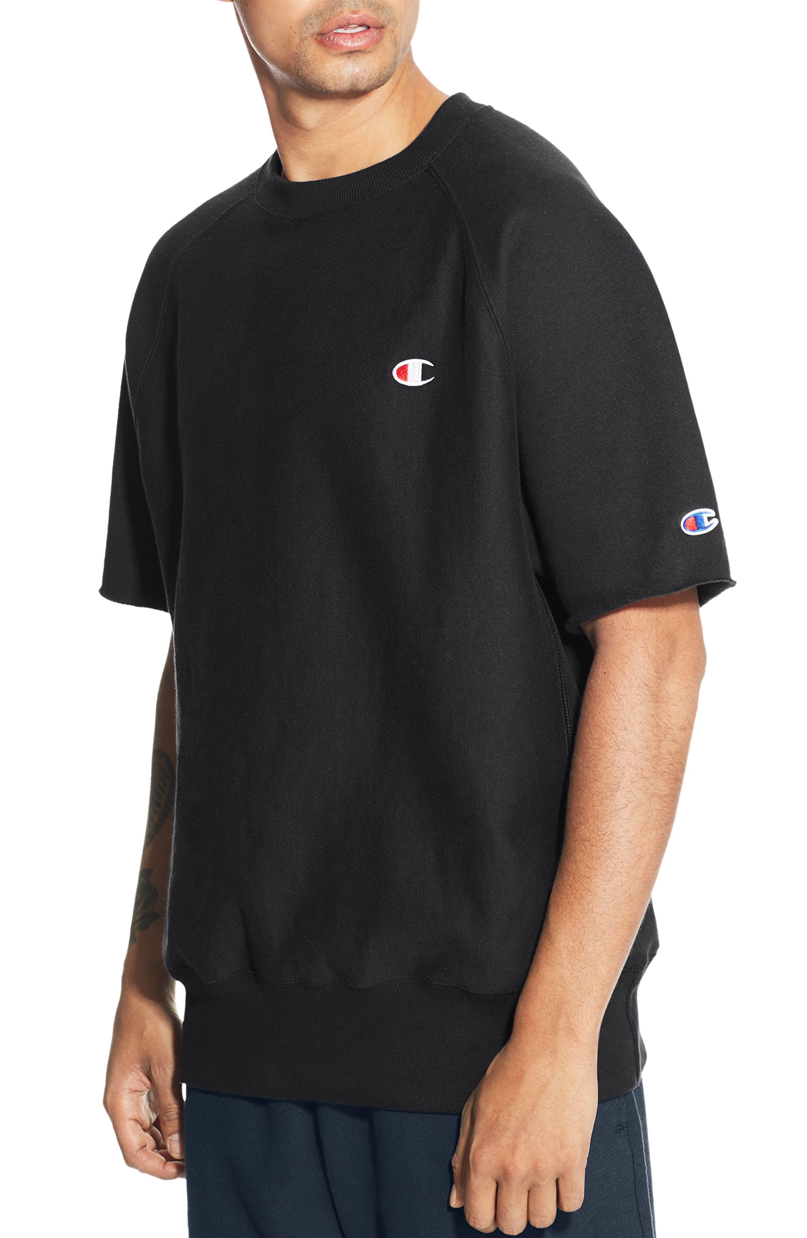 CHAMPION,                             Reverse Weave Short Sleeve Sweatshirt,                             Main thumbnail 1, color,                             001