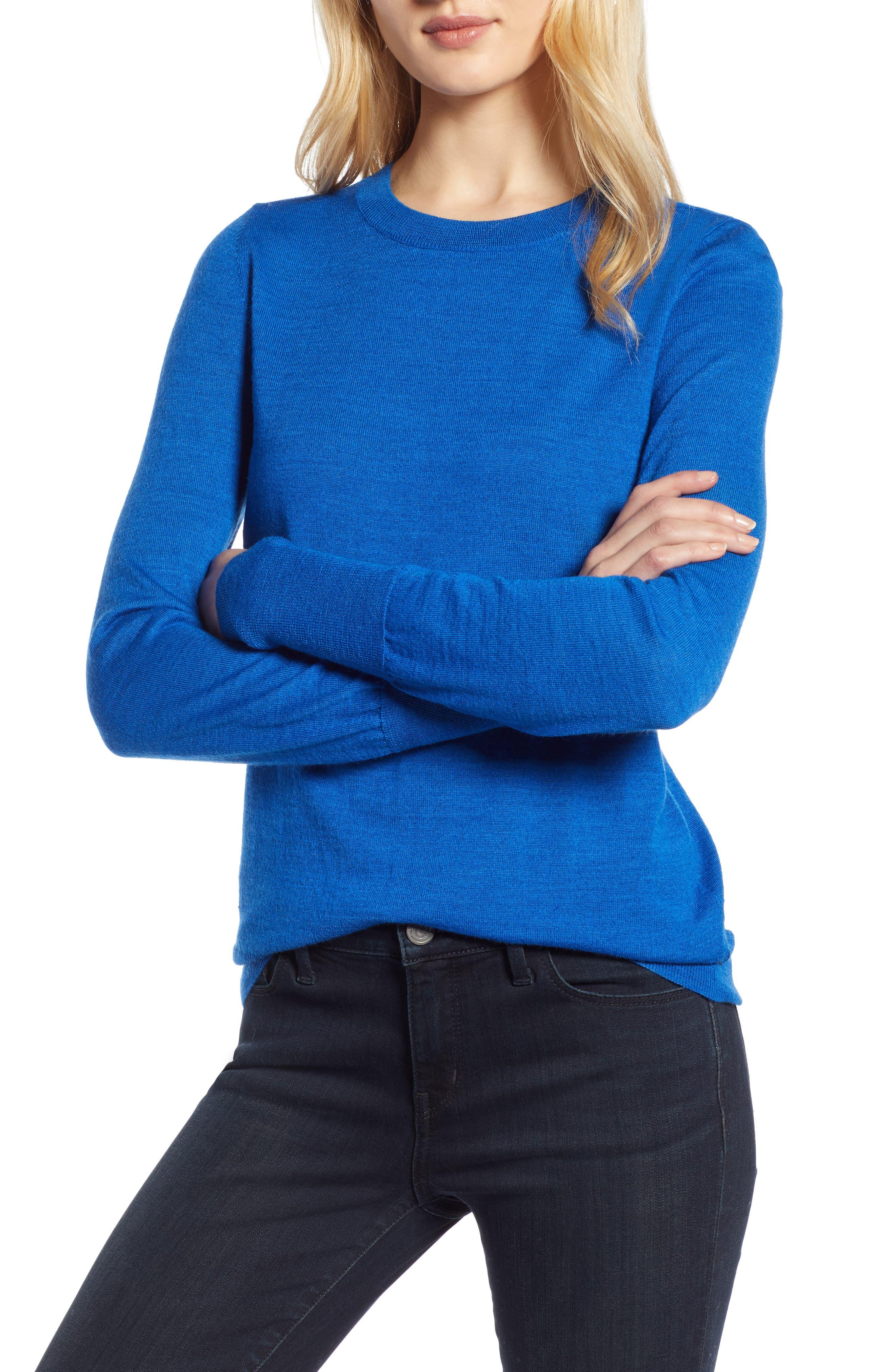 Petite Halogen Merino Wool Blend Sweater, Blue