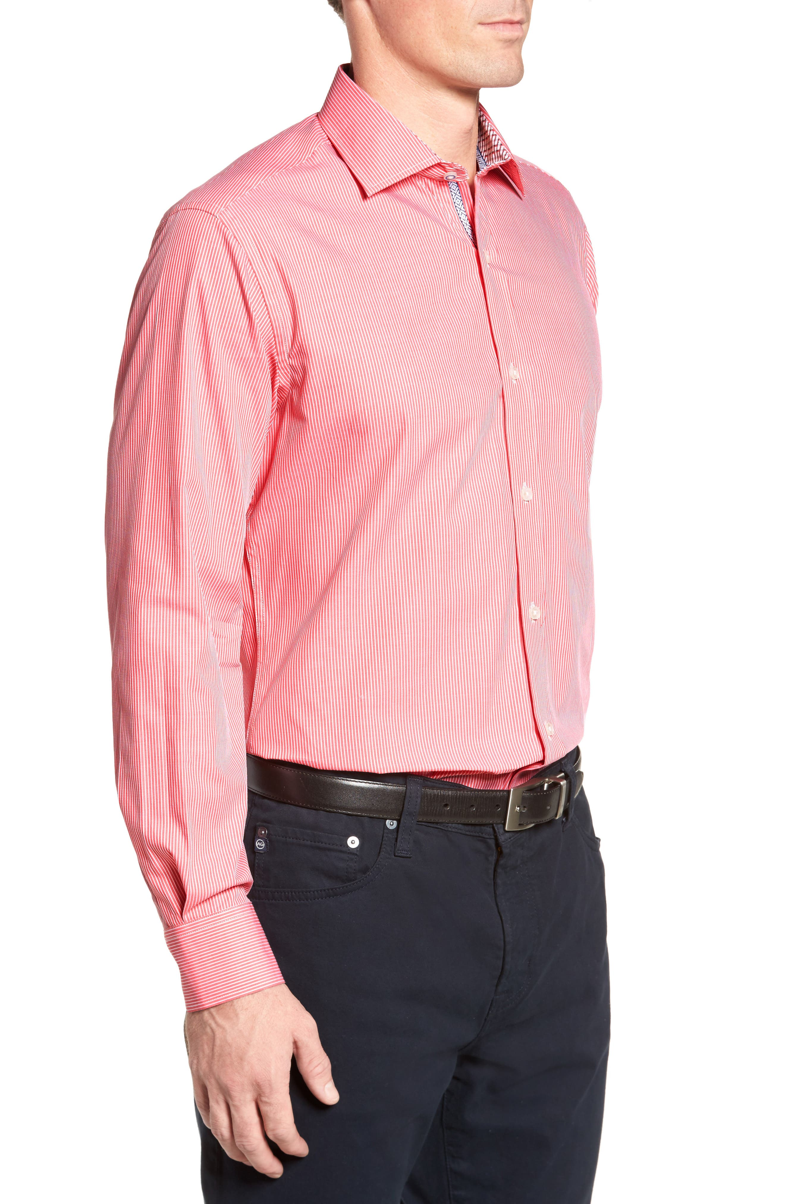 Oaksdale Stripe Sport Shirt,                             Alternate thumbnail 3, color,                             950