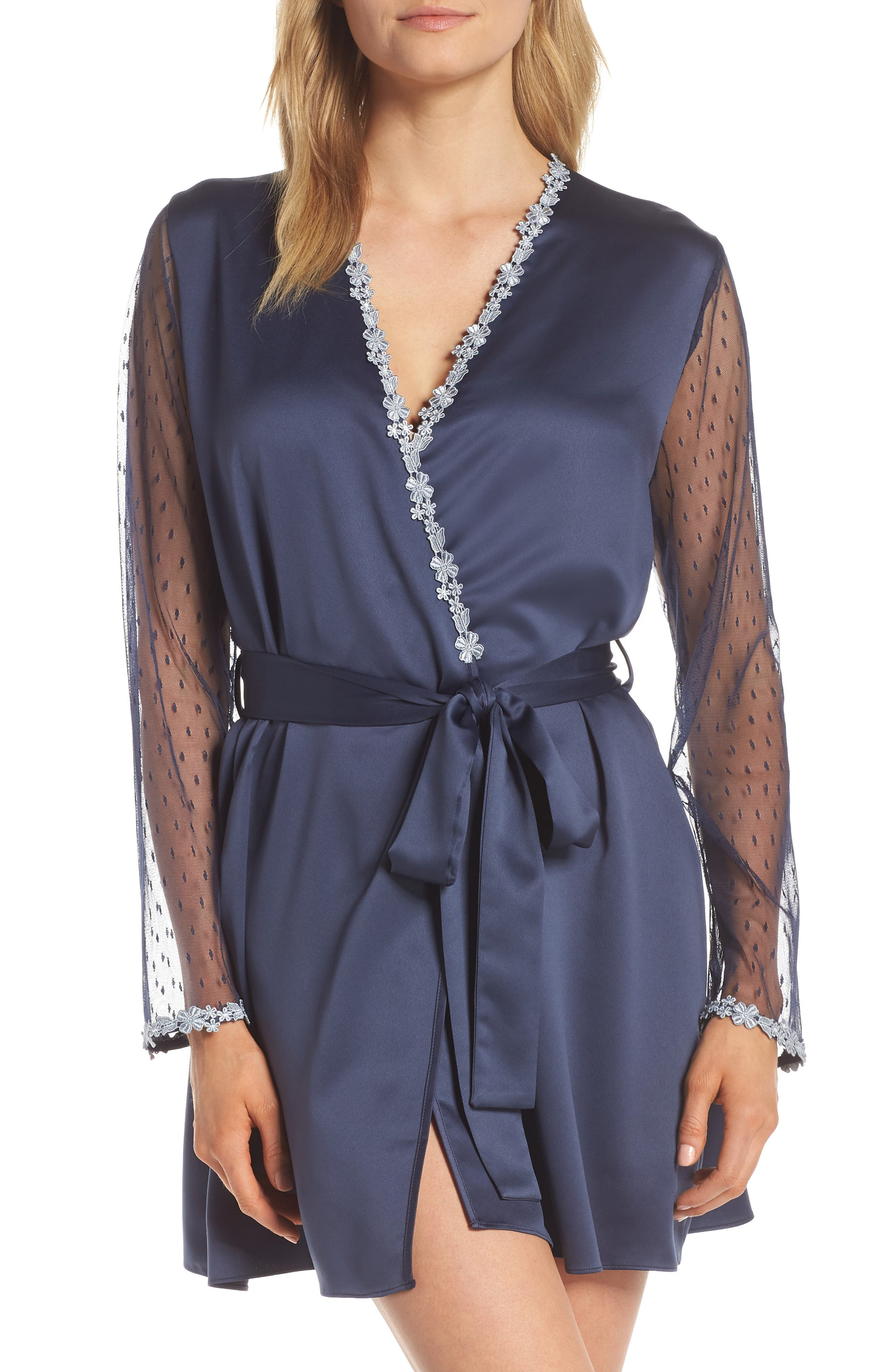 FLORA NIKROOZ Showstopper Robe, Main, color, NAVY