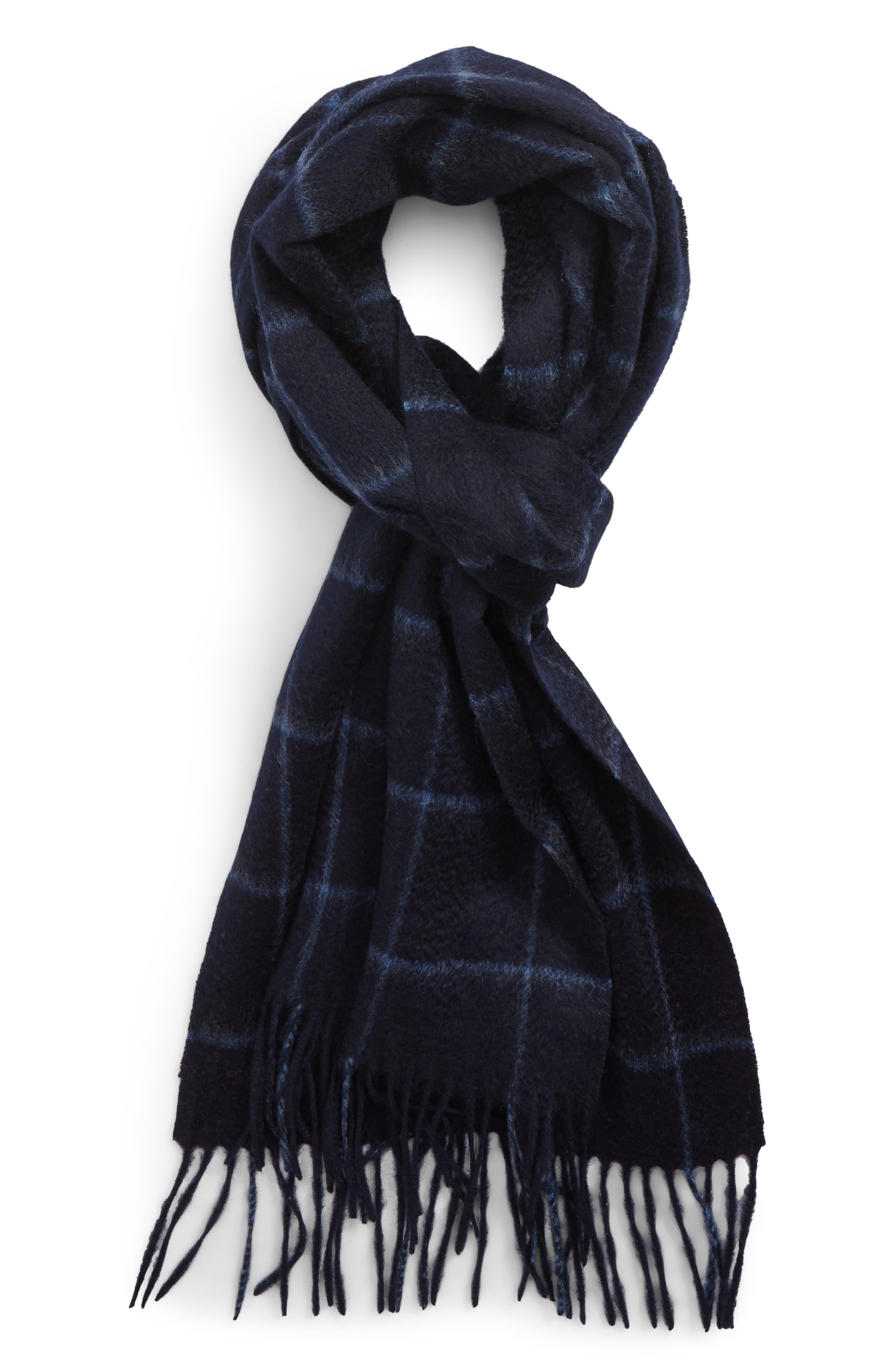 Cashmere Grid Scarf,                             Main thumbnail 1, color,                             NAVY PEACOAT