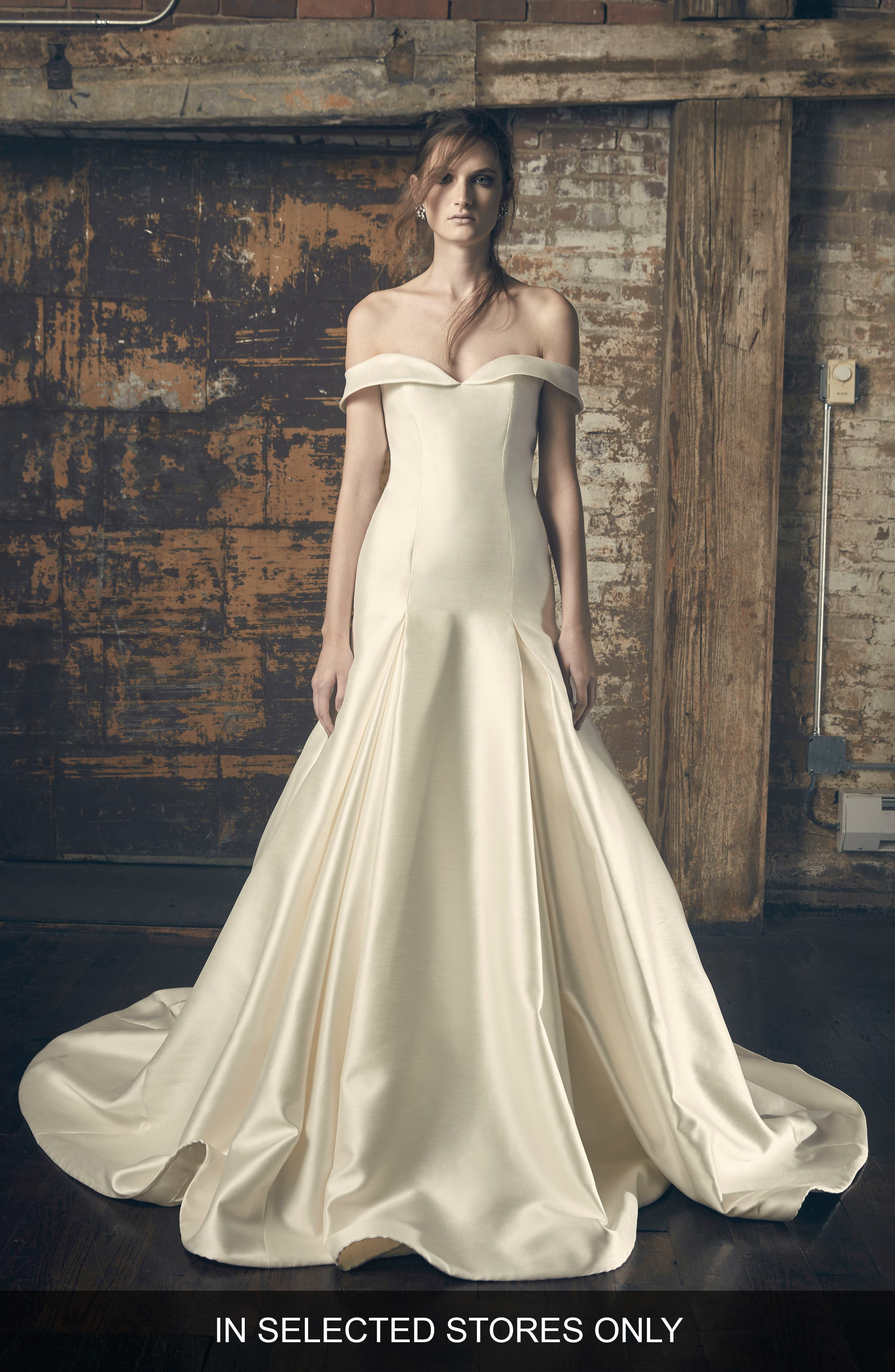 Ethel Off the Shoulder Shantung Mermaid Gown,                             Main thumbnail 1, color,                             IVORY