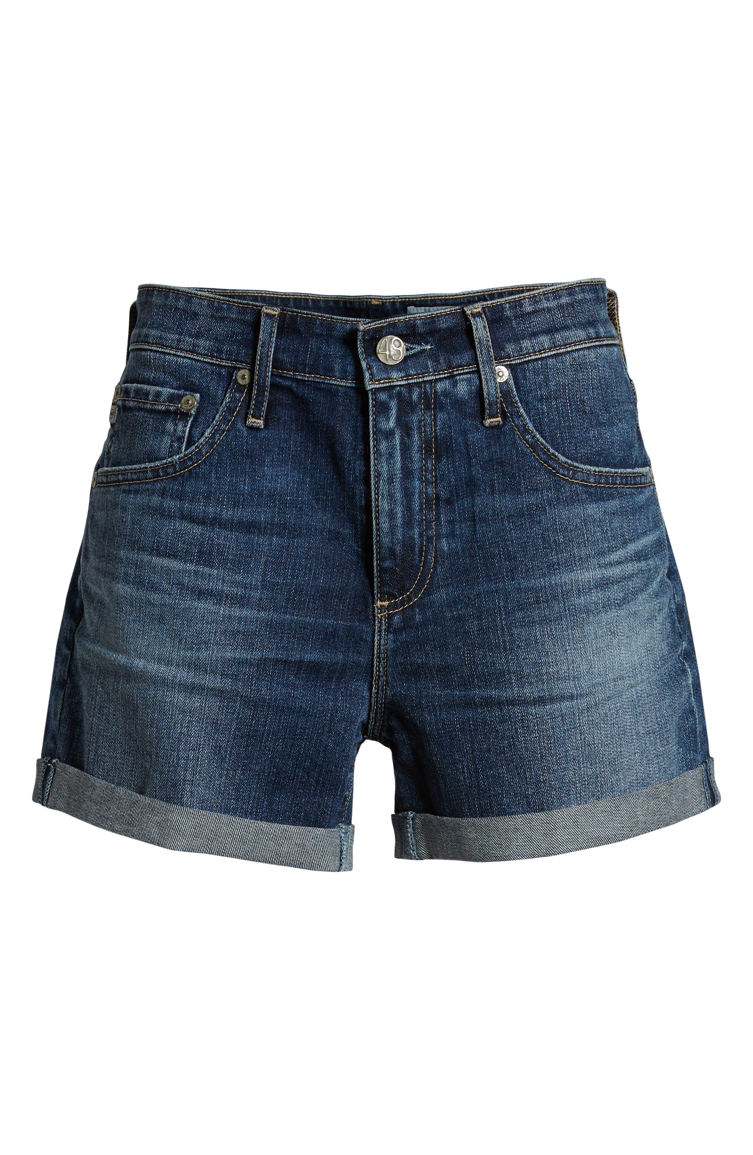 Hailey High Waist Cuff Denim Shorts,                             Alternate thumbnail 7, color,                             18 YEAR INDIGO CITY