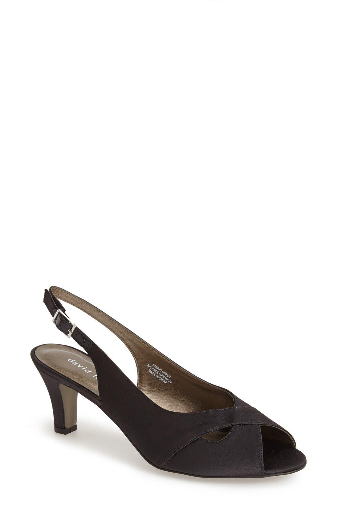 'Palm' Slingback Satin Sandal,                         Main,                         color, 001