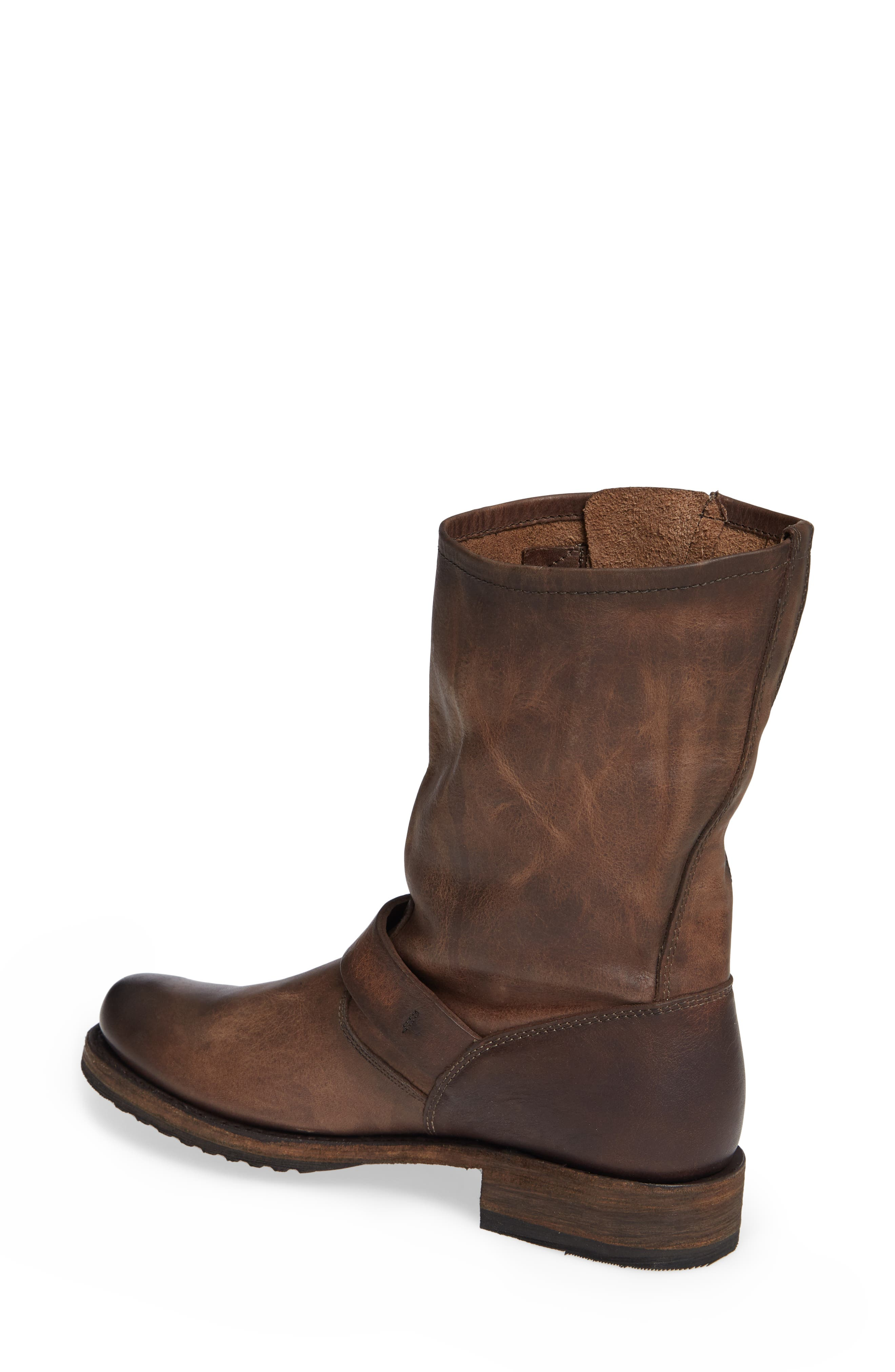 'Veronica' Short Boot,                             Alternate thumbnail 2, color,                             BROWN LEATHER