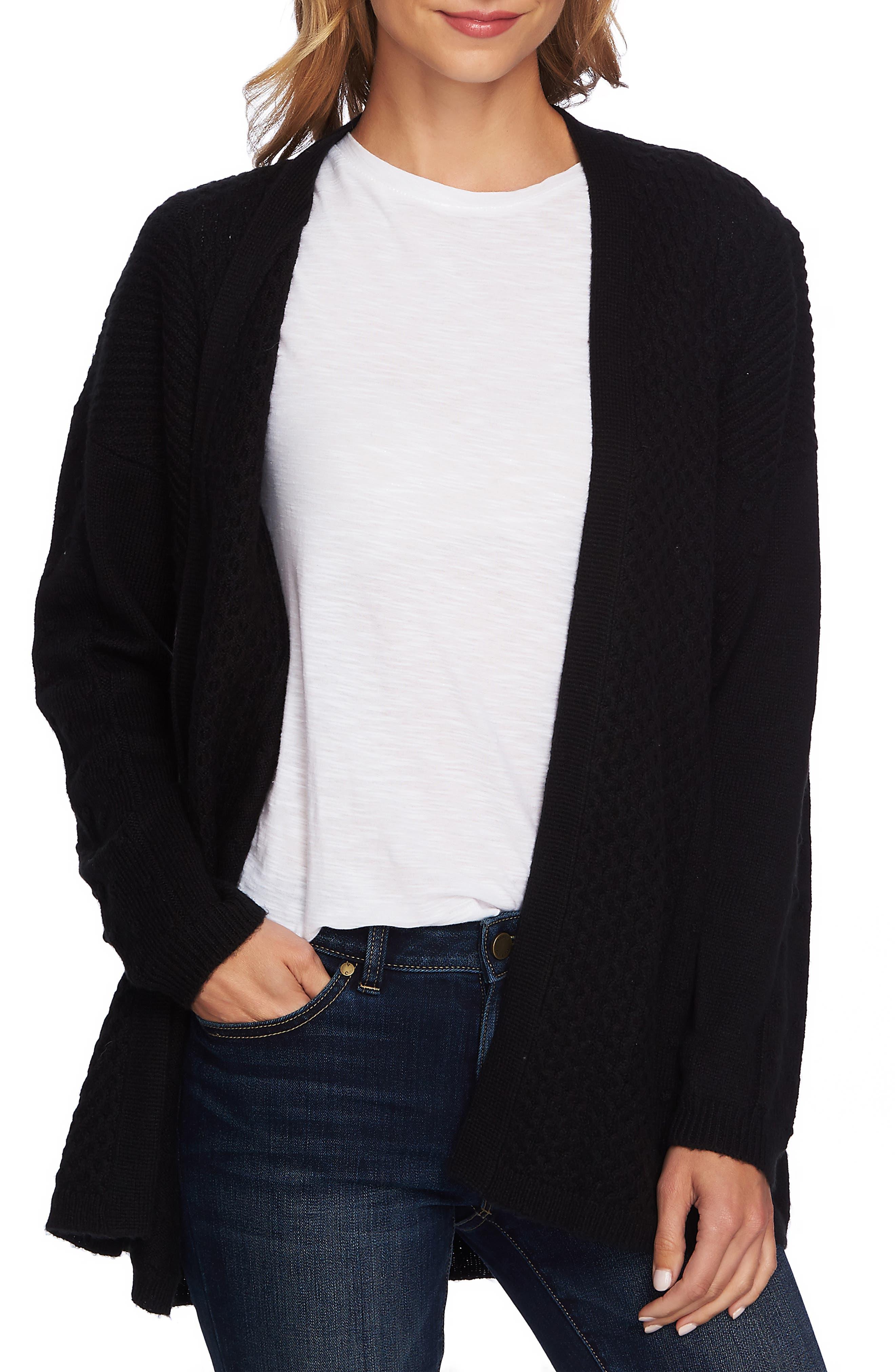 Multistitch Cardigan,                         Main,                         color, RICH BLACK