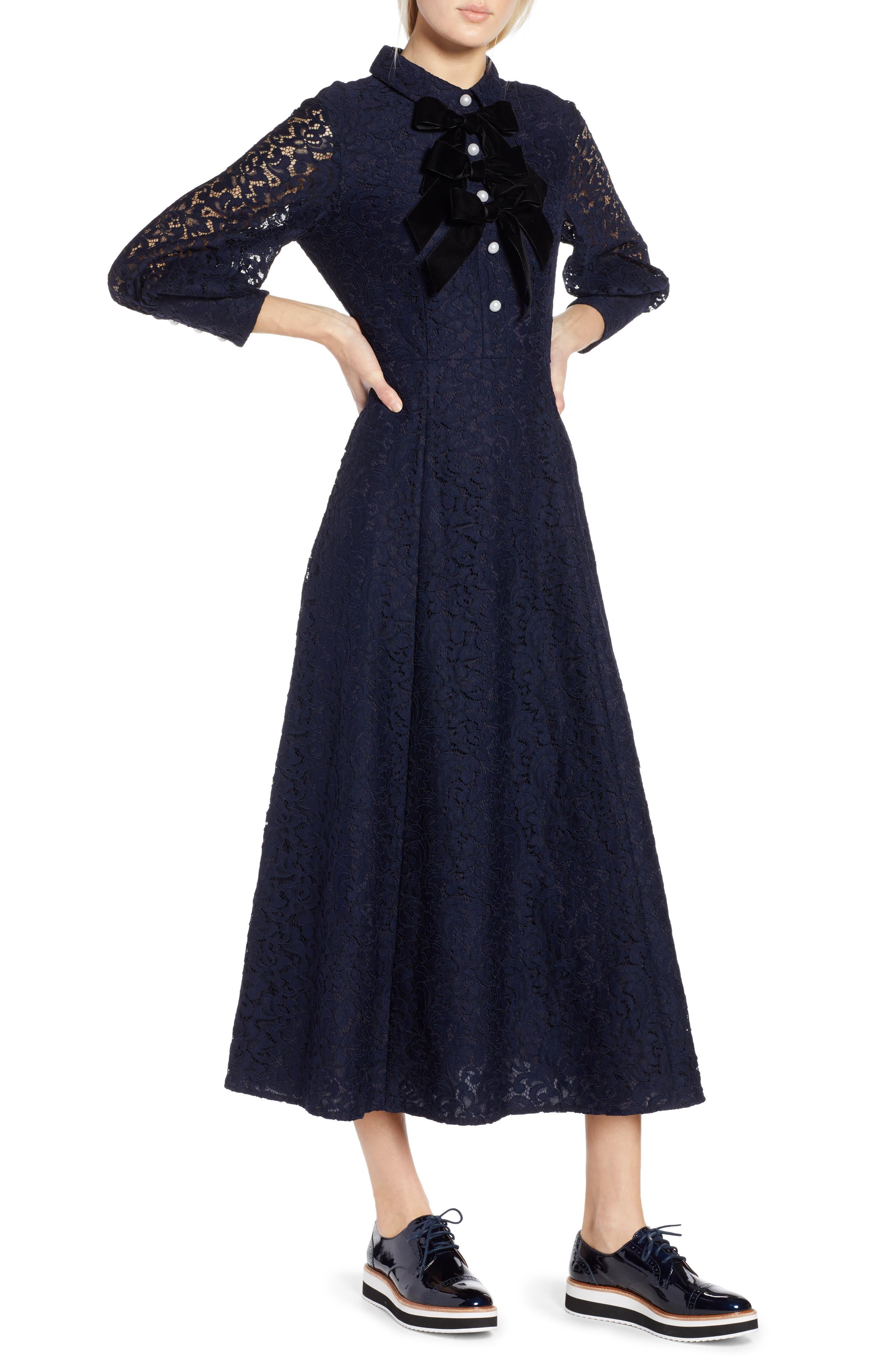 1930s Day Dresses, Afternoon Dresses History Petite Womens Halogen X Atlantic-Pacific Bow Detail Lace Midi Dress Size 16P - Blue $159.00 AT vintagedancer.com