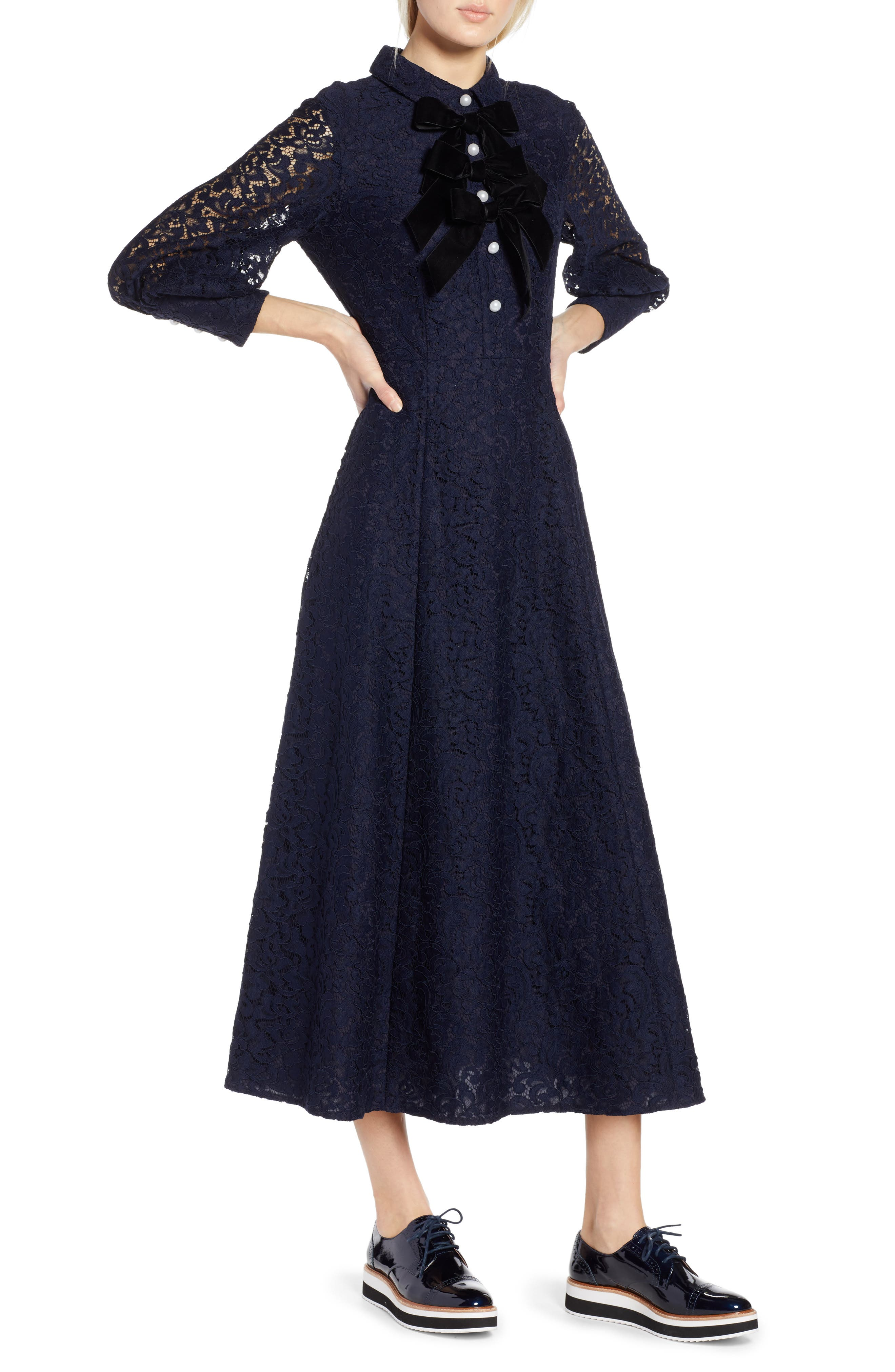 x Atlantic-Pacific Bow Detail Lace Midi Dress,                             Main thumbnail 1, color,                             NAVY