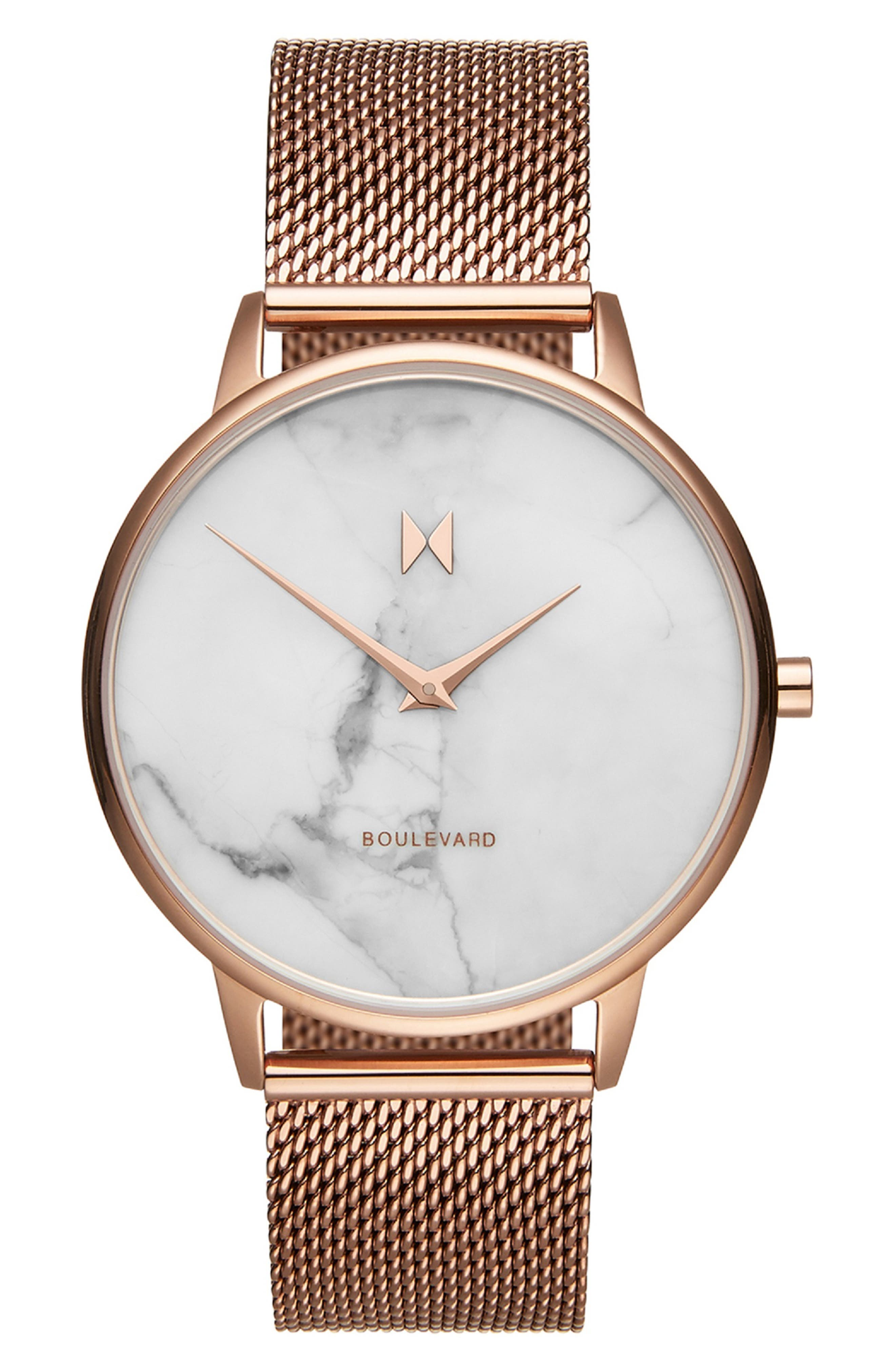 Boulevard Mesh Strap Watch, 38mm,                         Main,                         color, ROSE GOLD/ WHITE/ ROSE GOLD
