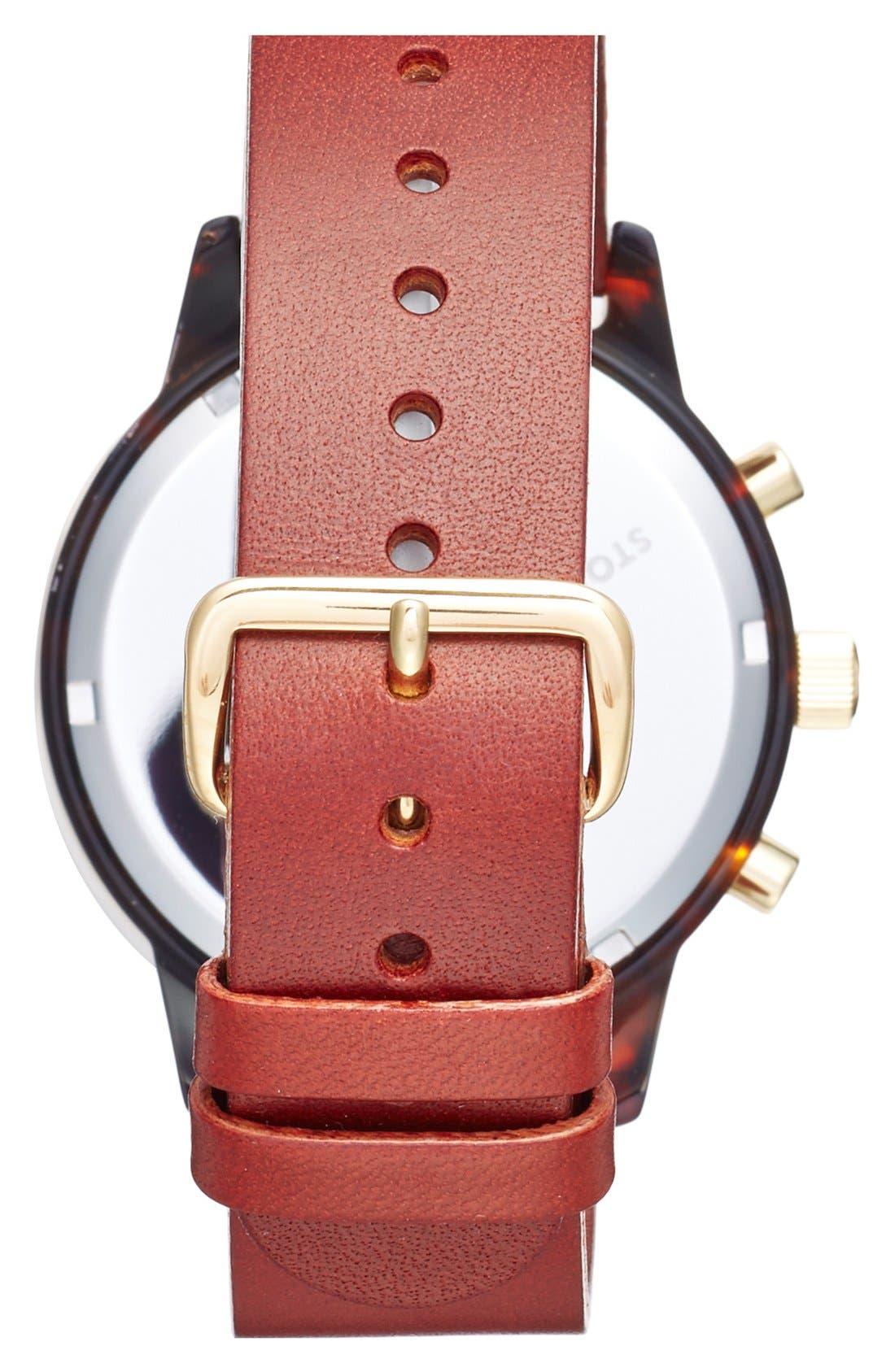 Blue Nevil Chronograph Leather Strap Watch, 38mm,                             Alternate thumbnail 2, color,                             COGNAC/ SILVER