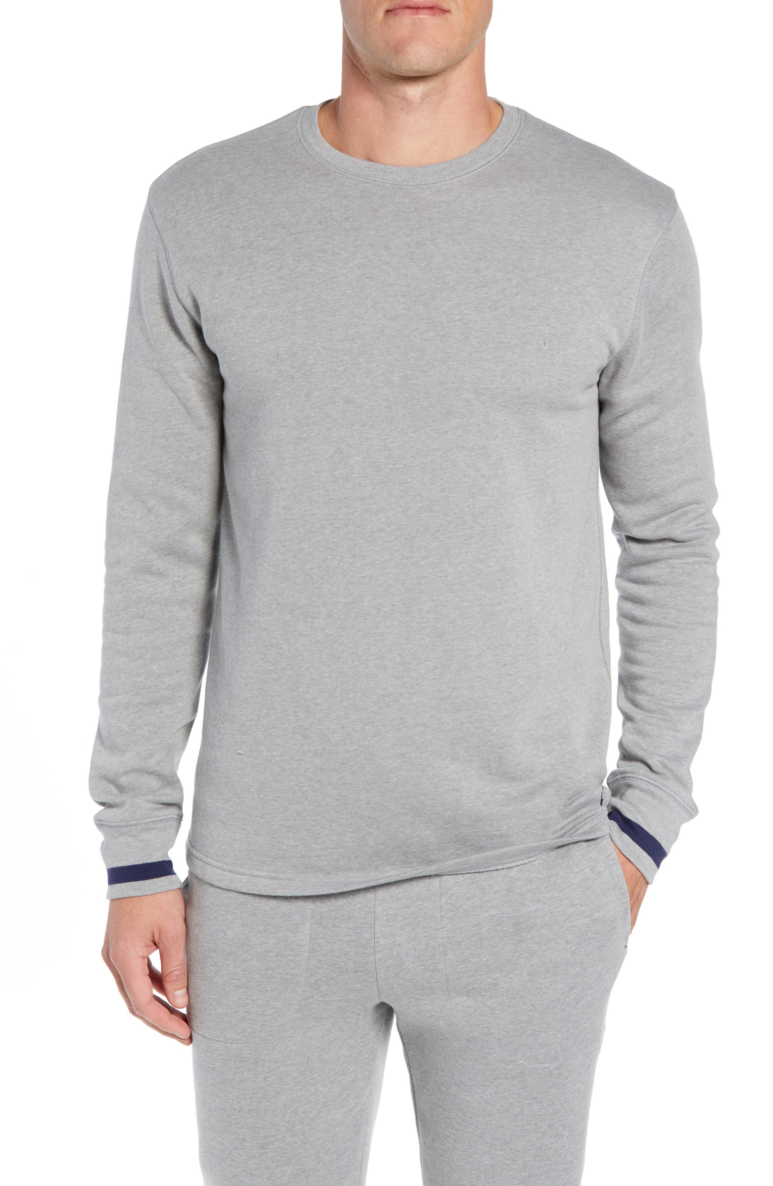 Brushed Jersey Cotton Blend Crewneck Sweatshirt,                             Main thumbnail 1, color,                             ANDOVER HEATHER GREY