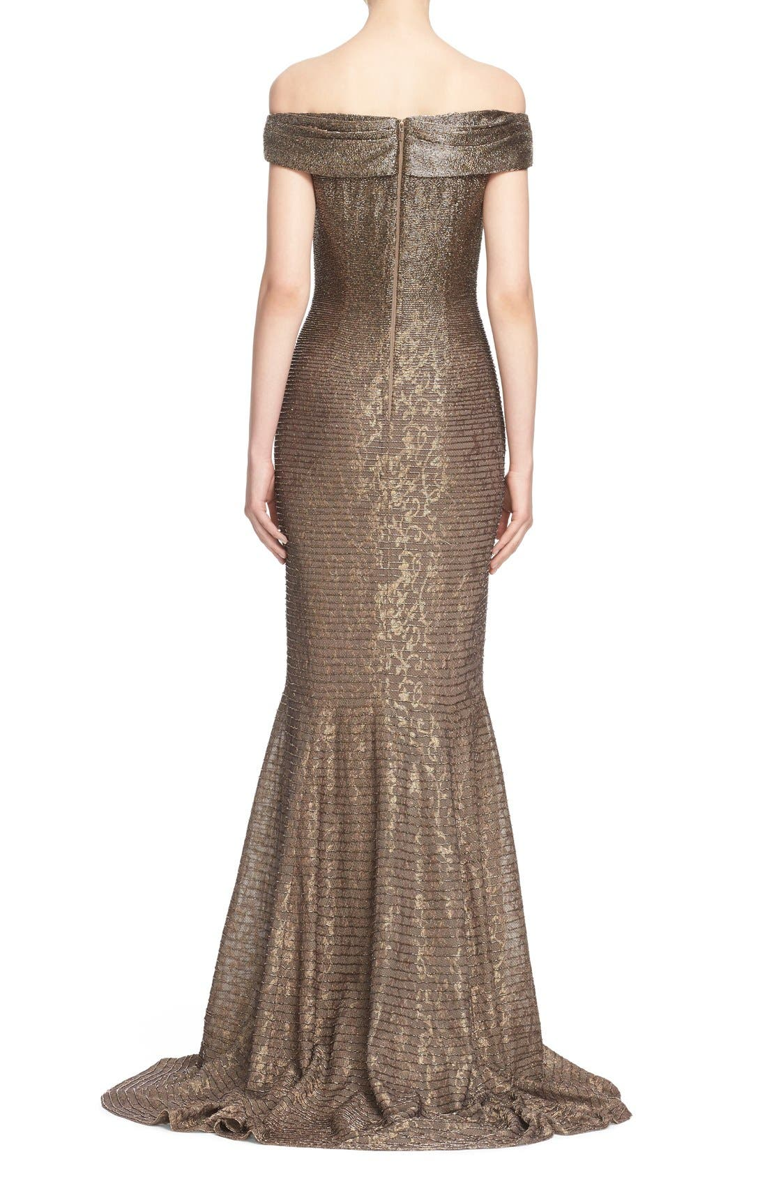 CARMEN MARC VALVO COUTURE,                             Beaded Off the Shoulder Lace Mermaid Gown,                             Alternate thumbnail 3, color,                             710