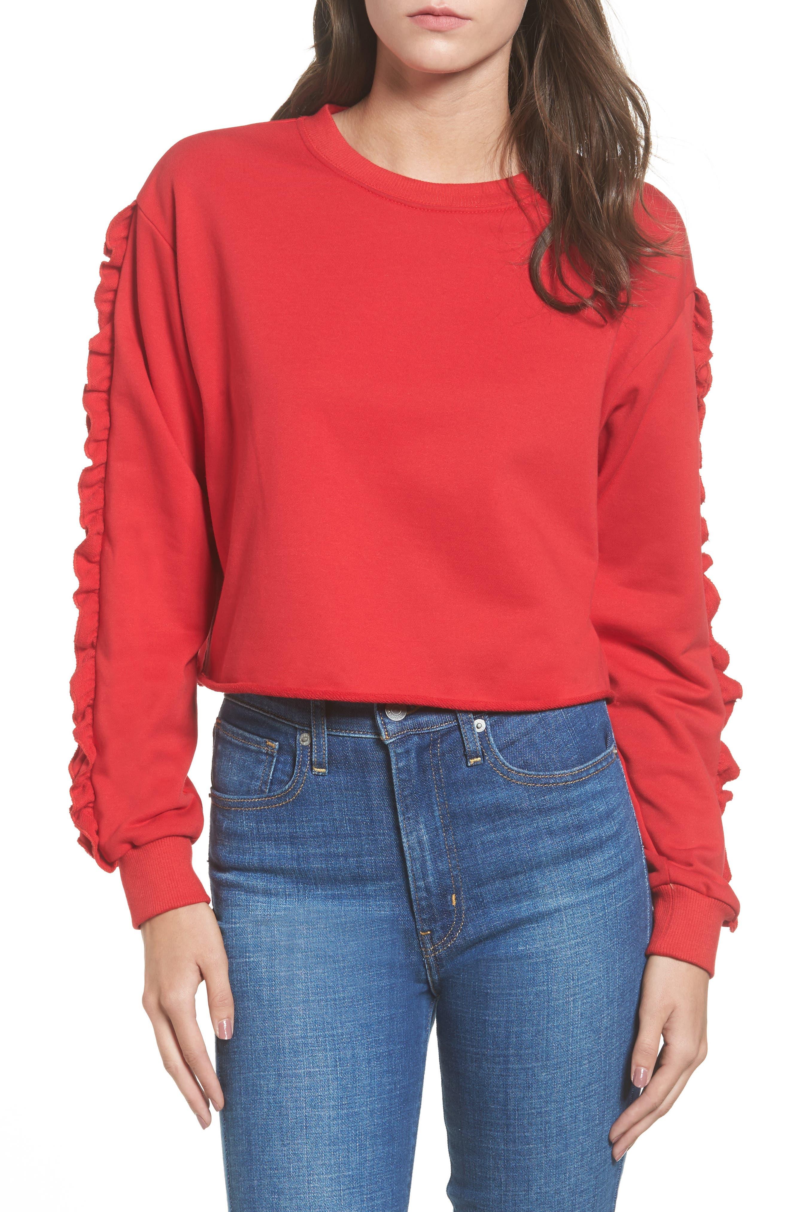 Ruffle Trim Sweatshirt,                         Main,                         color, 600