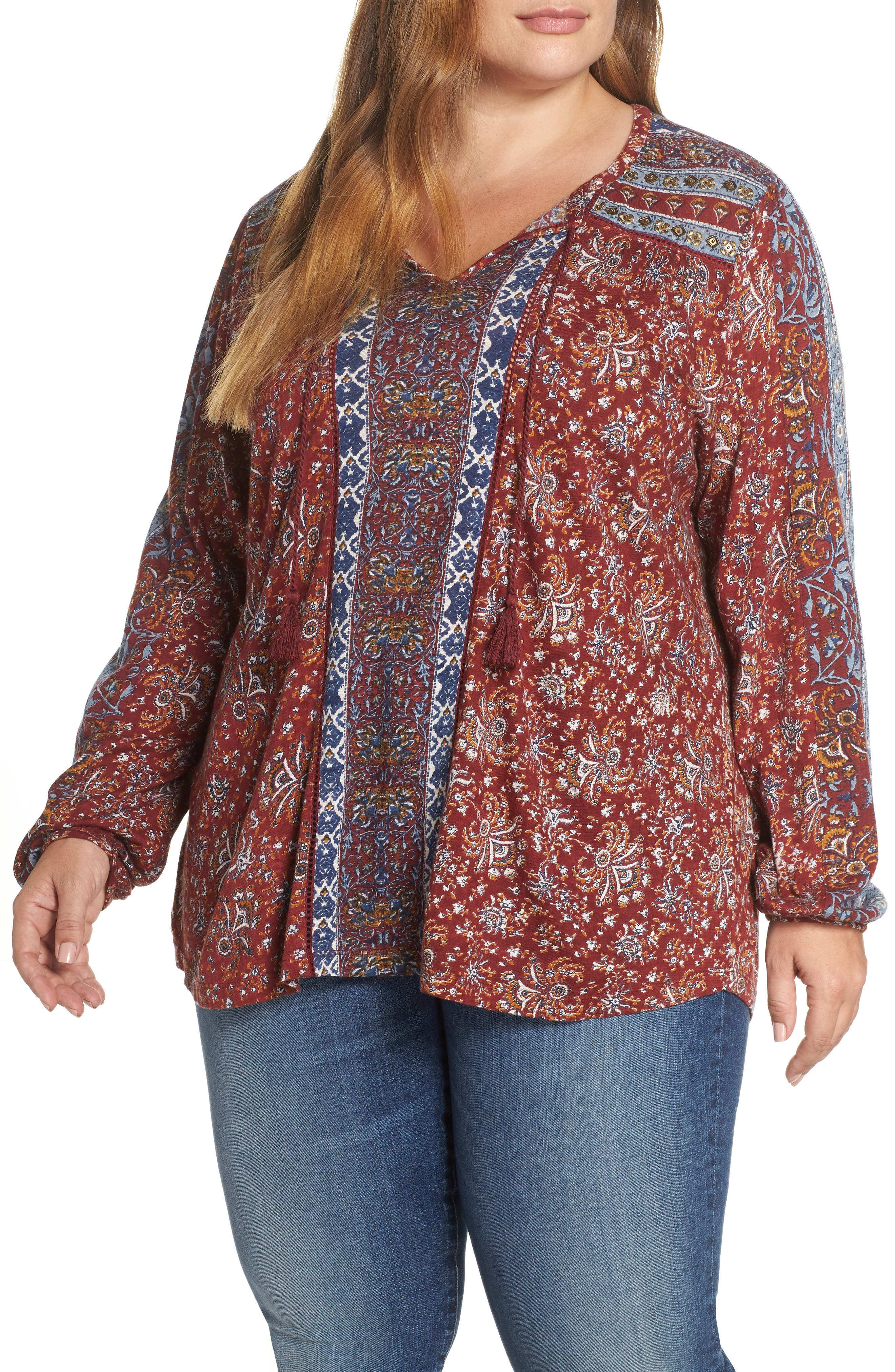 plus size women's lucky brand print tunic, size 2x - red