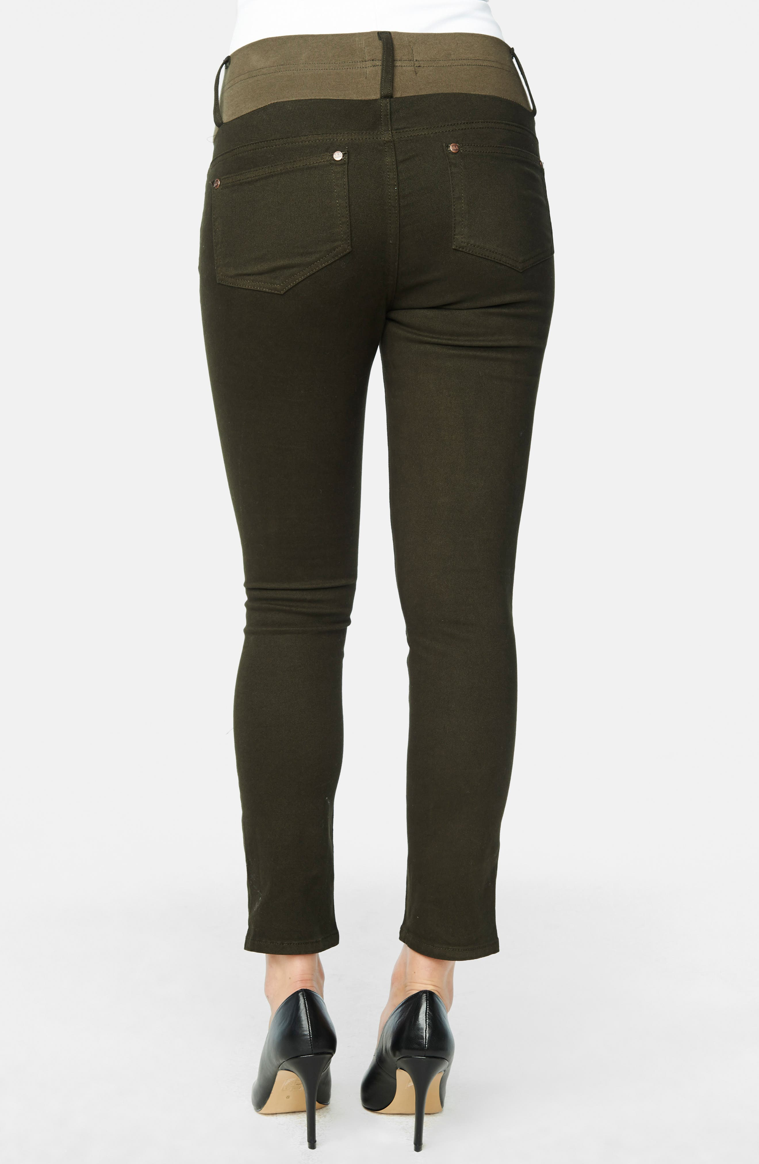 Maternity Skinny Ankle Stretch Jeans,                             Alternate thumbnail 4, color,                             OLIVE