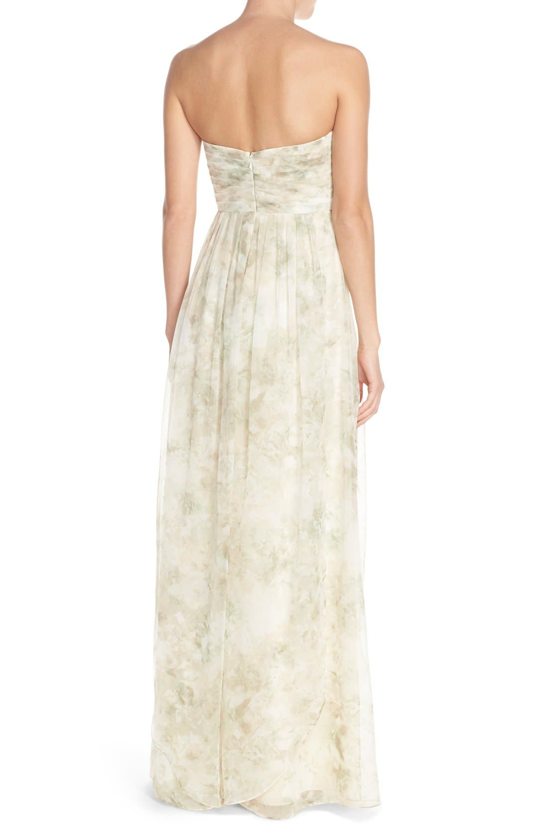 Nyla Floral Print Convertible Strapless Chiffon Gown,                             Alternate thumbnail 6, color,