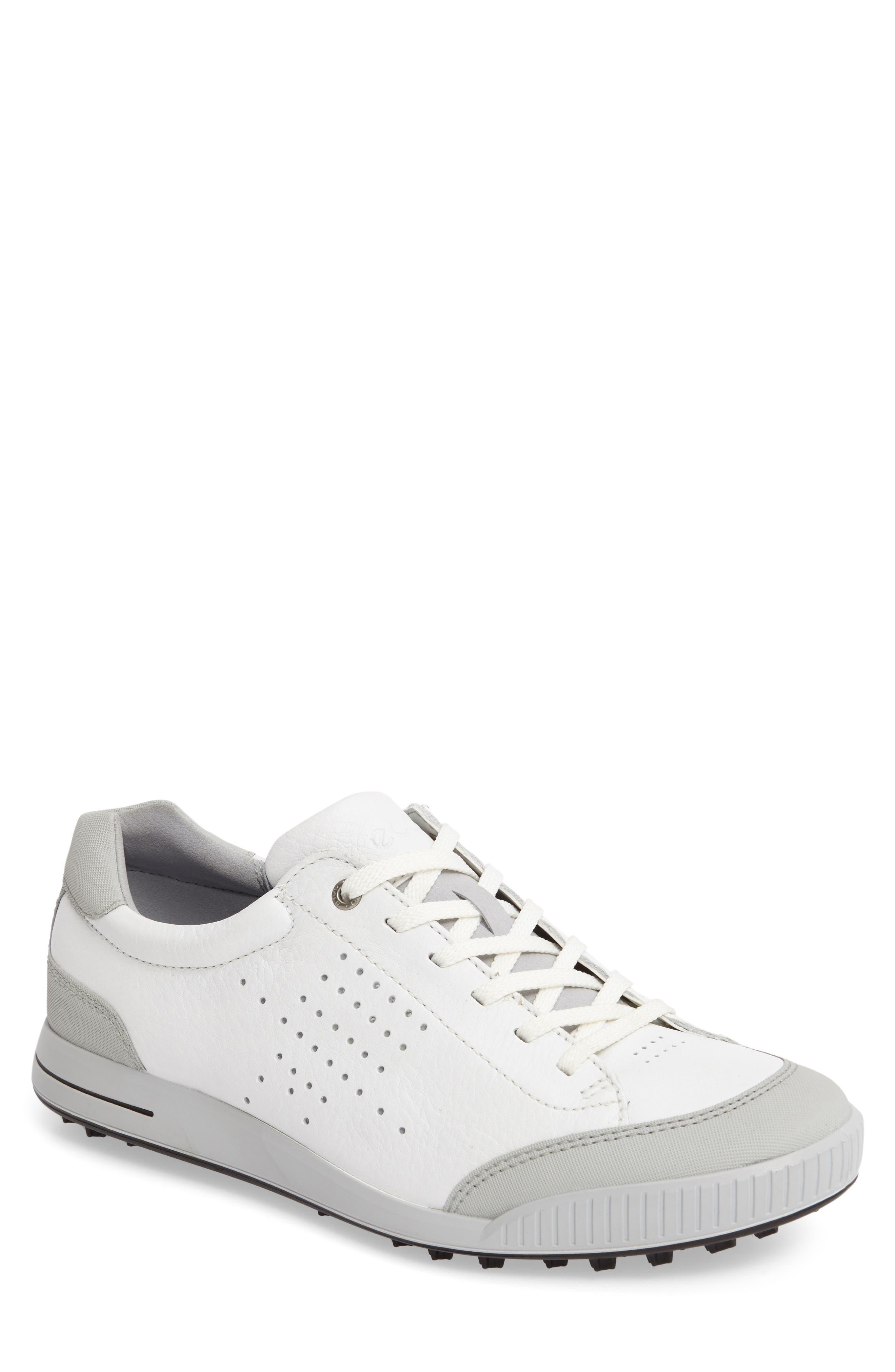 ECCO Street Retro HM Golf Shoe, Main, color, WHITE/ CONCRETE