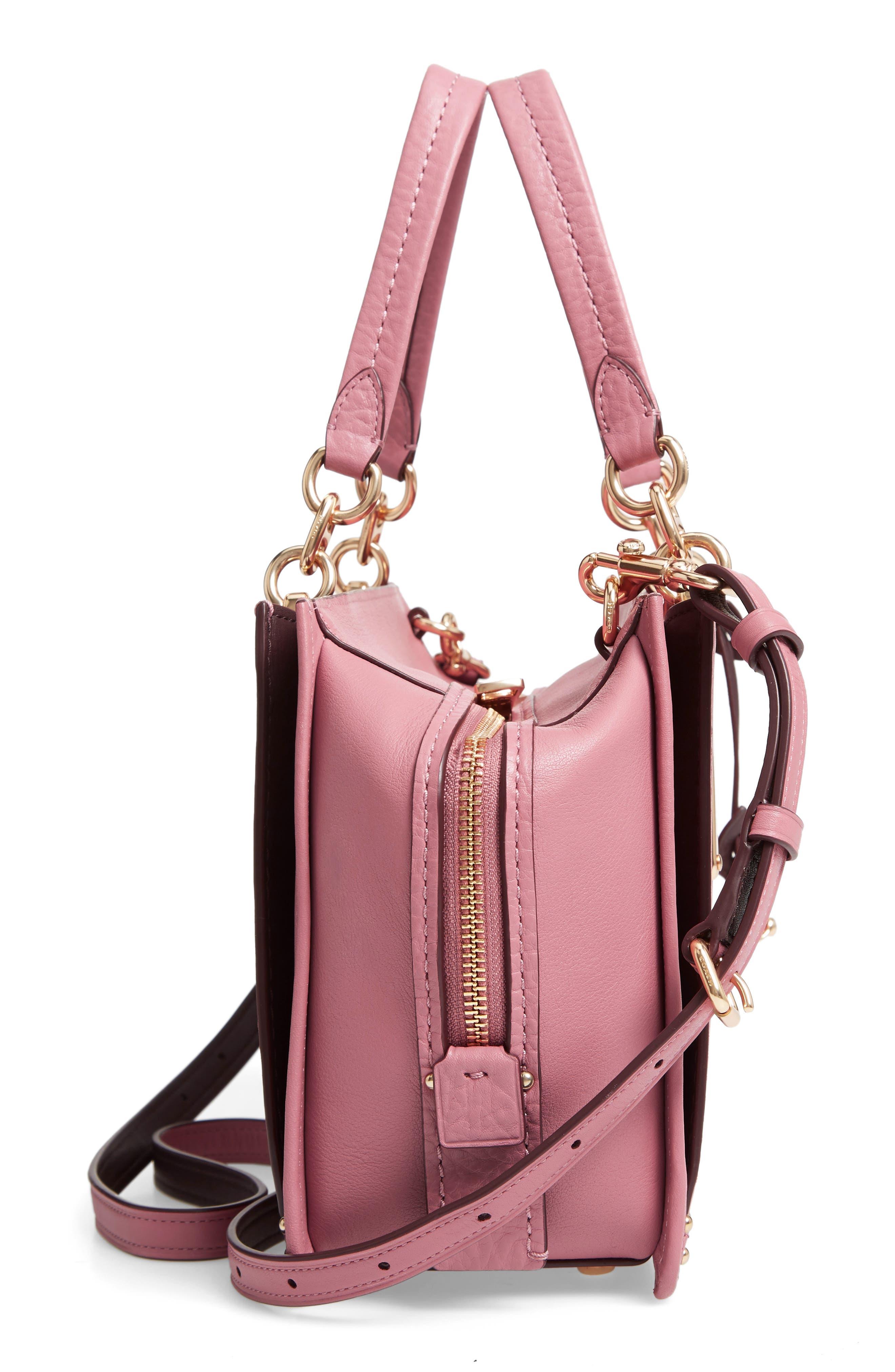 Dreamer Leather Handbag,                             Alternate thumbnail 5, color,                             ROSE MULTI